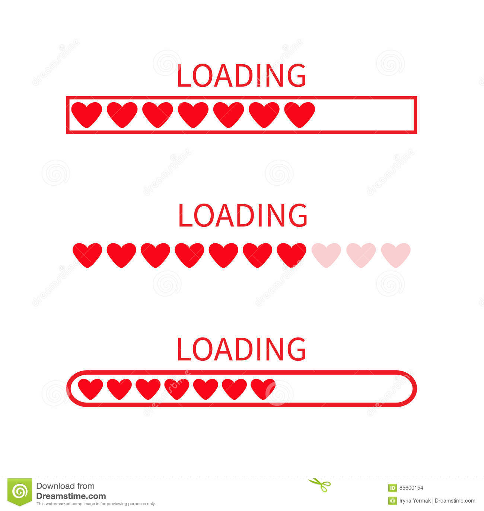 装载的进展状态栏象集合 爱汇集 红色重点 滑稽的愉快的情人节元素 网络设计app下载定时器