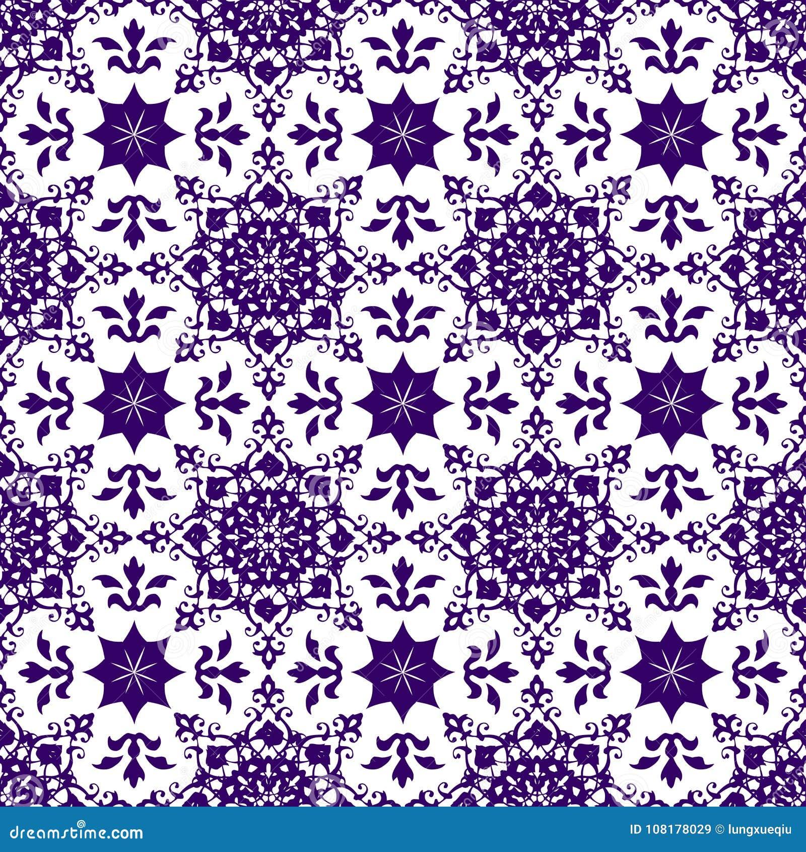 装饰东方抽象花卉无缝的葡萄酒阿拉伯中国透明蓝色样式纹理墙纸