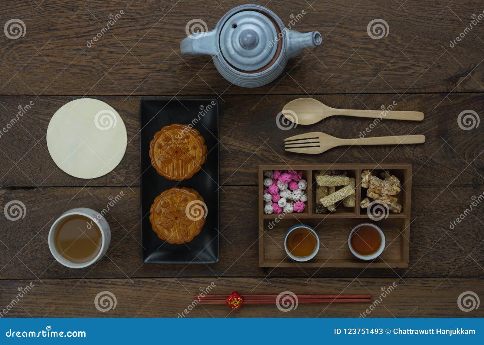 装饰中国中秋节背景概念的台式视图空中图象