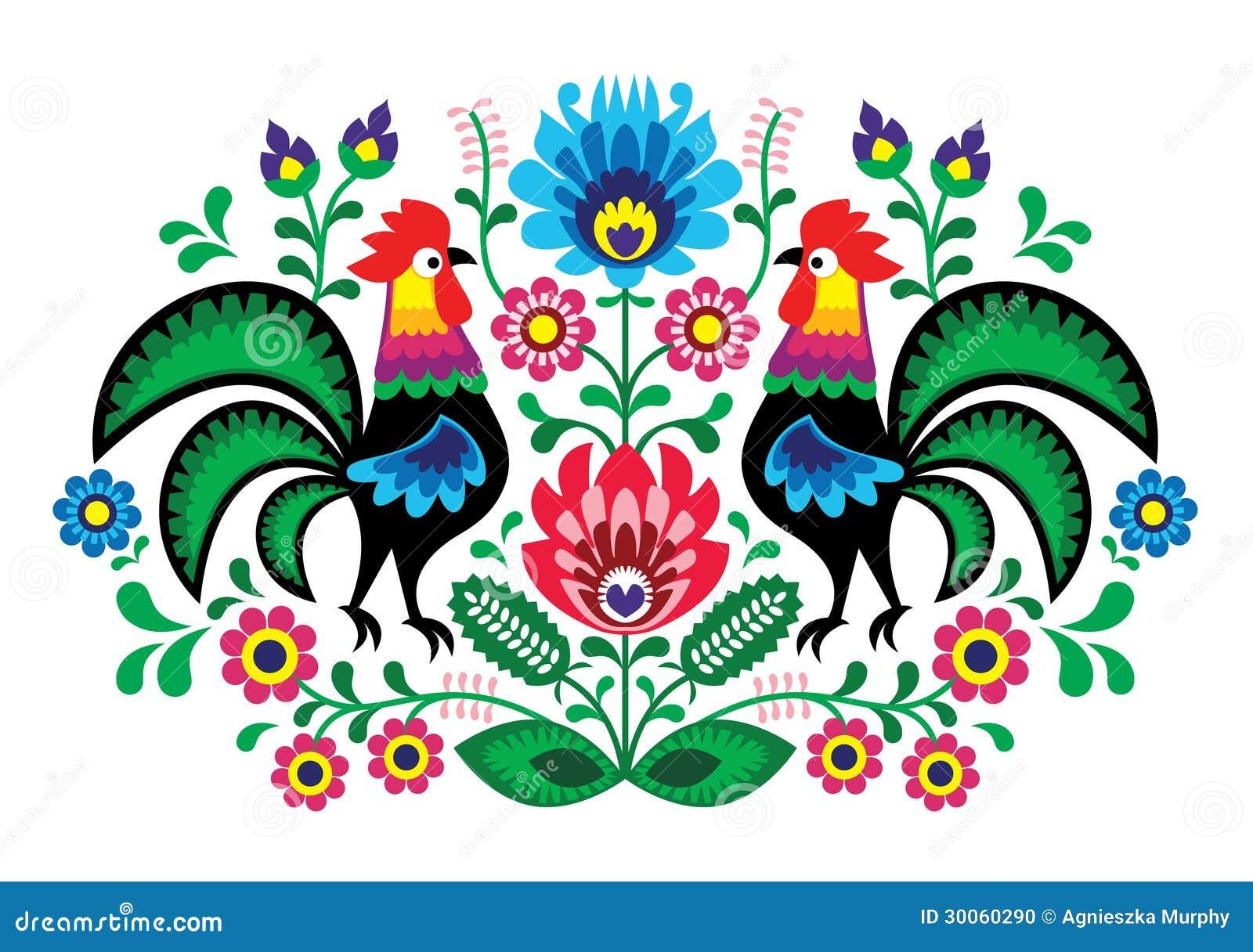 与公鸡的波兰花卉刺绣-传统民间样式