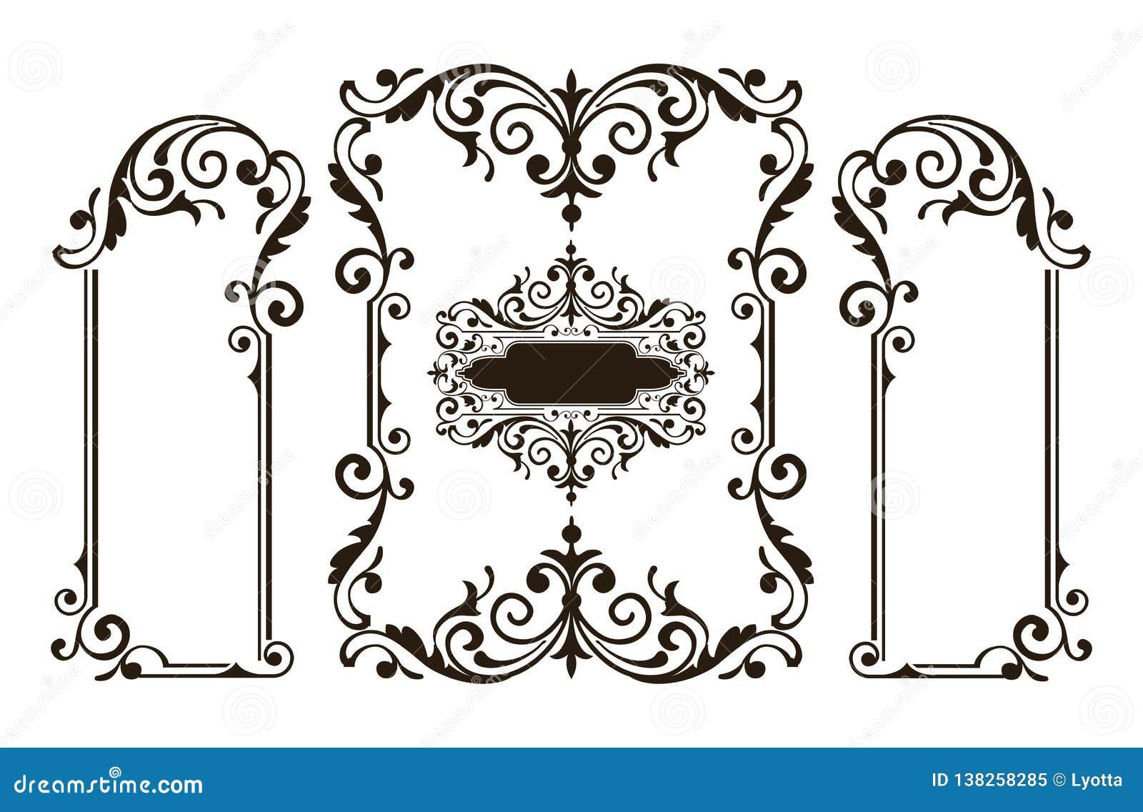 装饰品元素花卉减速火箭的角落框架毗邻贴纸艺术装饰设计例证