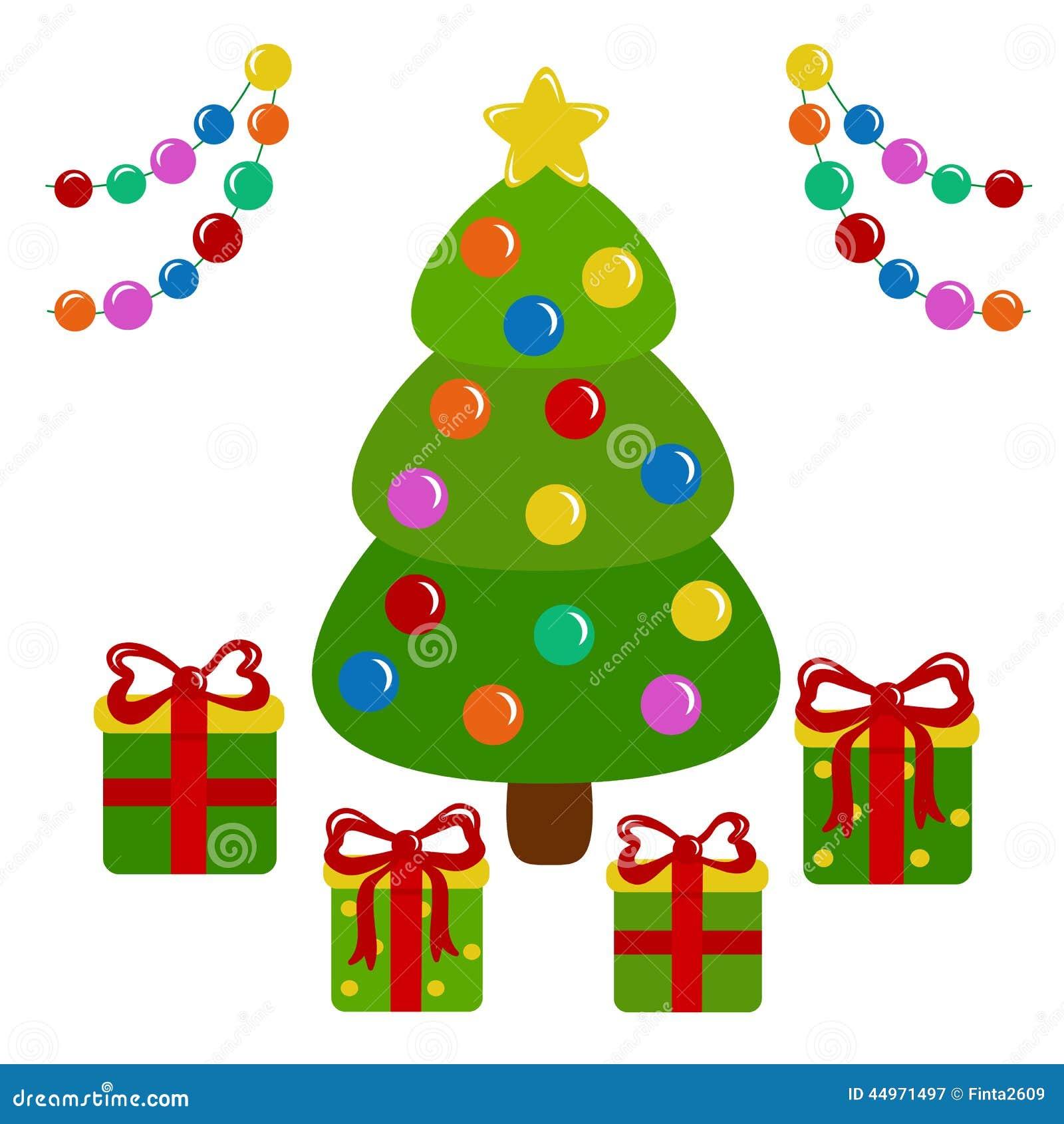 装饰的圣诞树和礼物-例证.图片