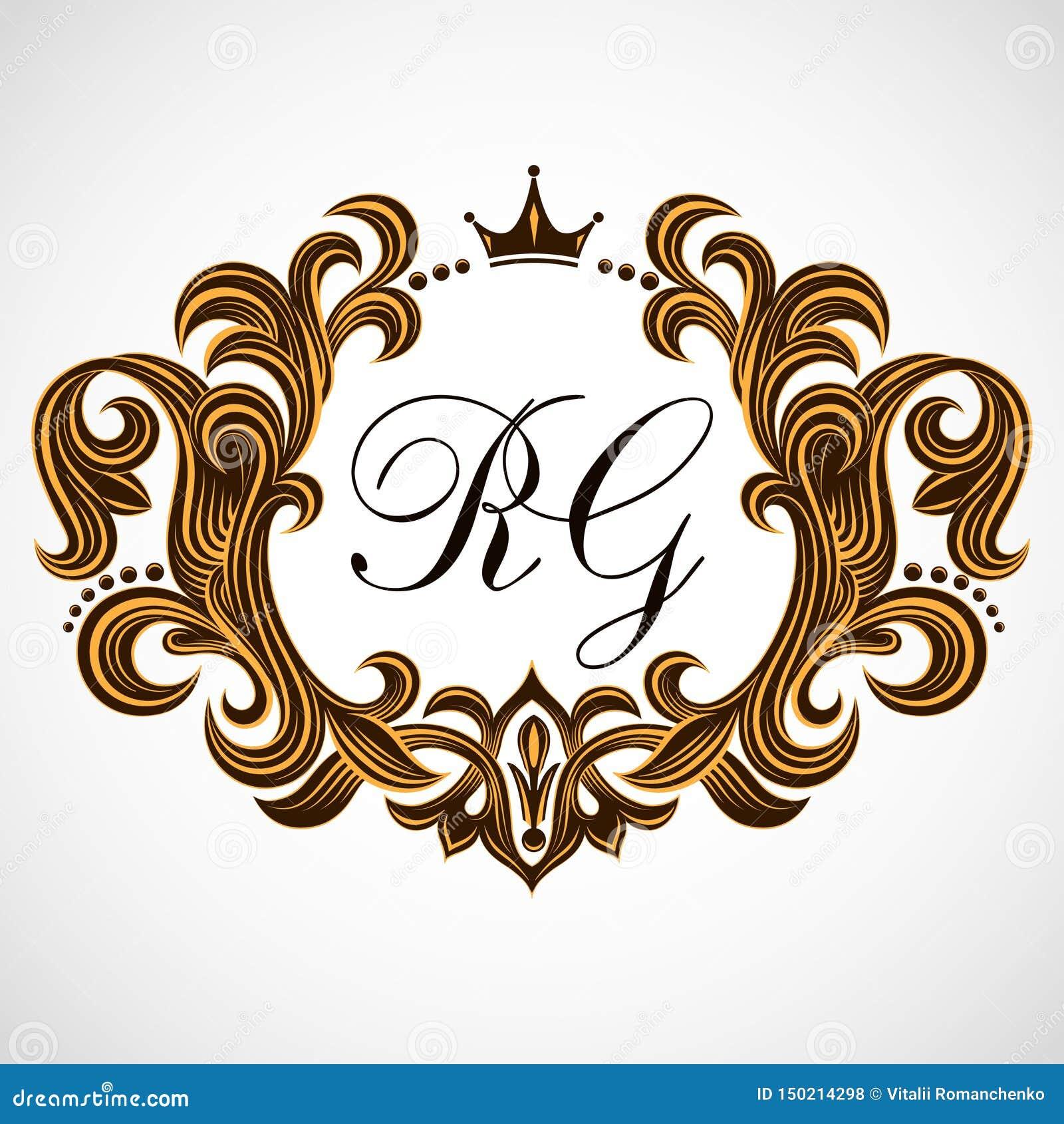 装饰花卉样式 豪华优美的框架 纹章学标志 组合图案最初和专属书法设计元素