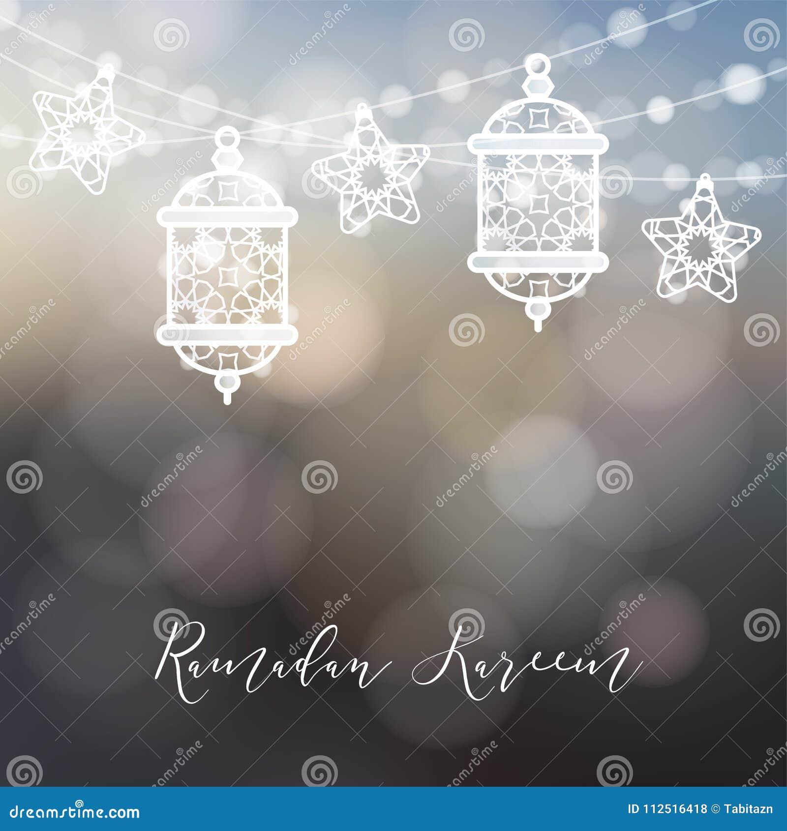 装饰阿拉伯灯笼、光和星串  穆斯林的现代欢乐被弄脏的传染媒介例证背景
