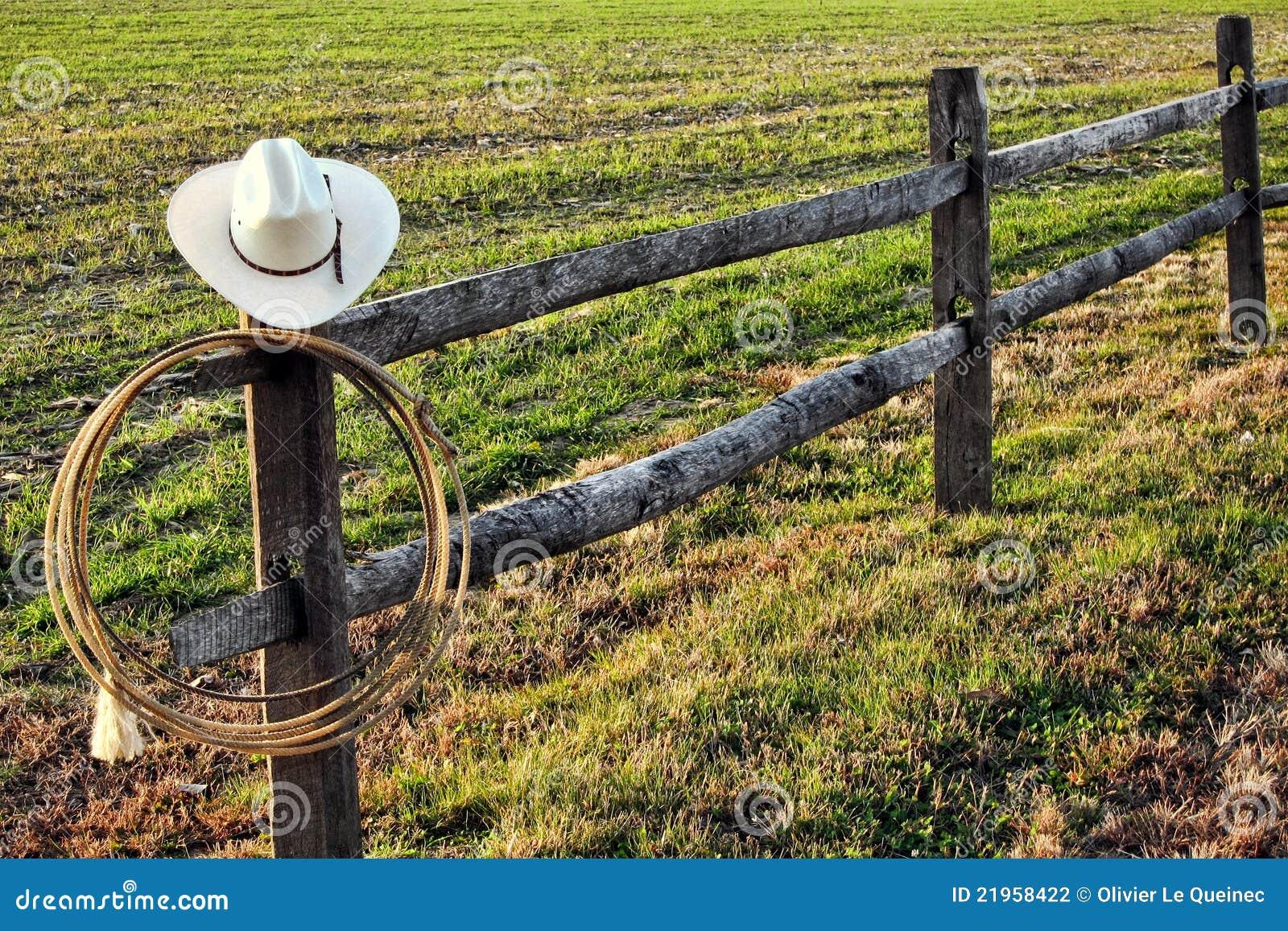 西方美国牛仔范围帽子套索的圈地