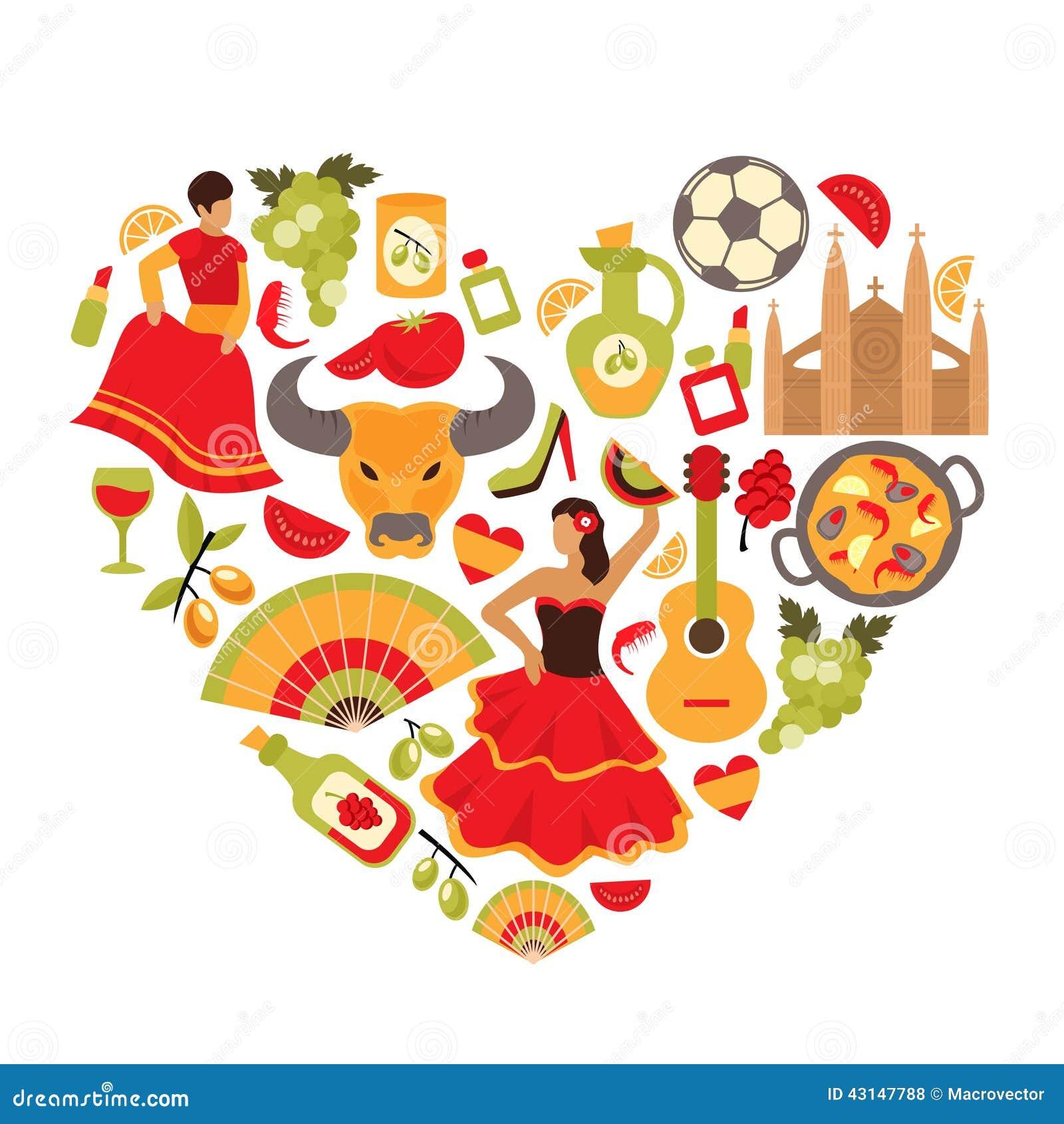 装饰西班牙文化传统佛拉明柯舞曲舞蹈食物葡萄树象征心脏形状印刷品图片