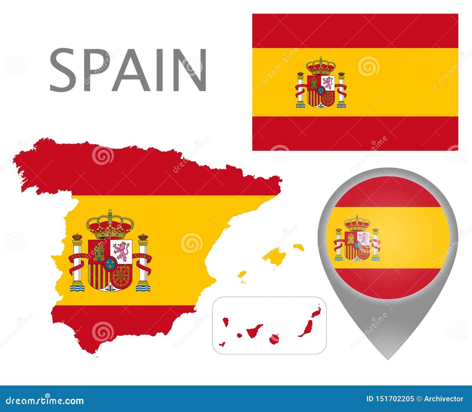西班牙旗子、地图和地图尖