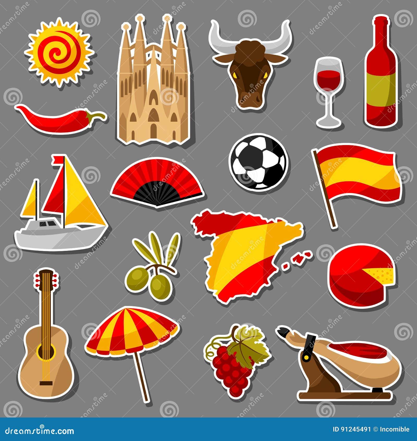 西班牙被设置的贴纸象 西班牙传统标志和对象