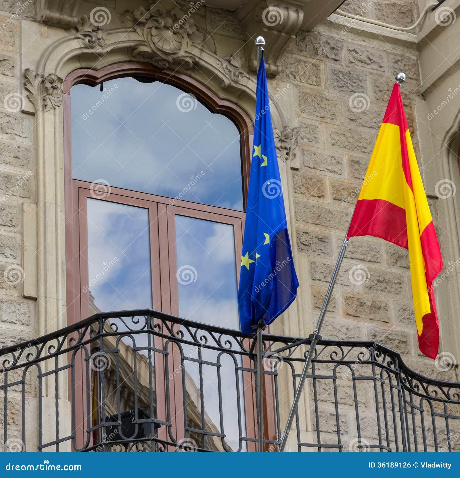 西班牙语和欧盟旗子