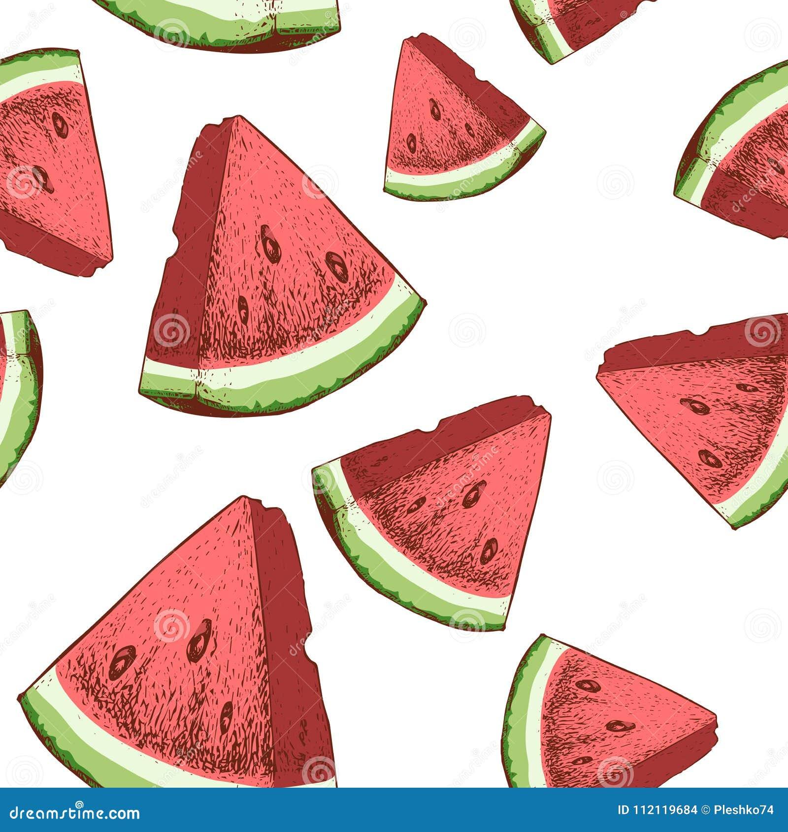 西瓜切无缝的样式 手拉的剪影样式成熟夏天结果实传染媒介例证 党设计的理想,果子