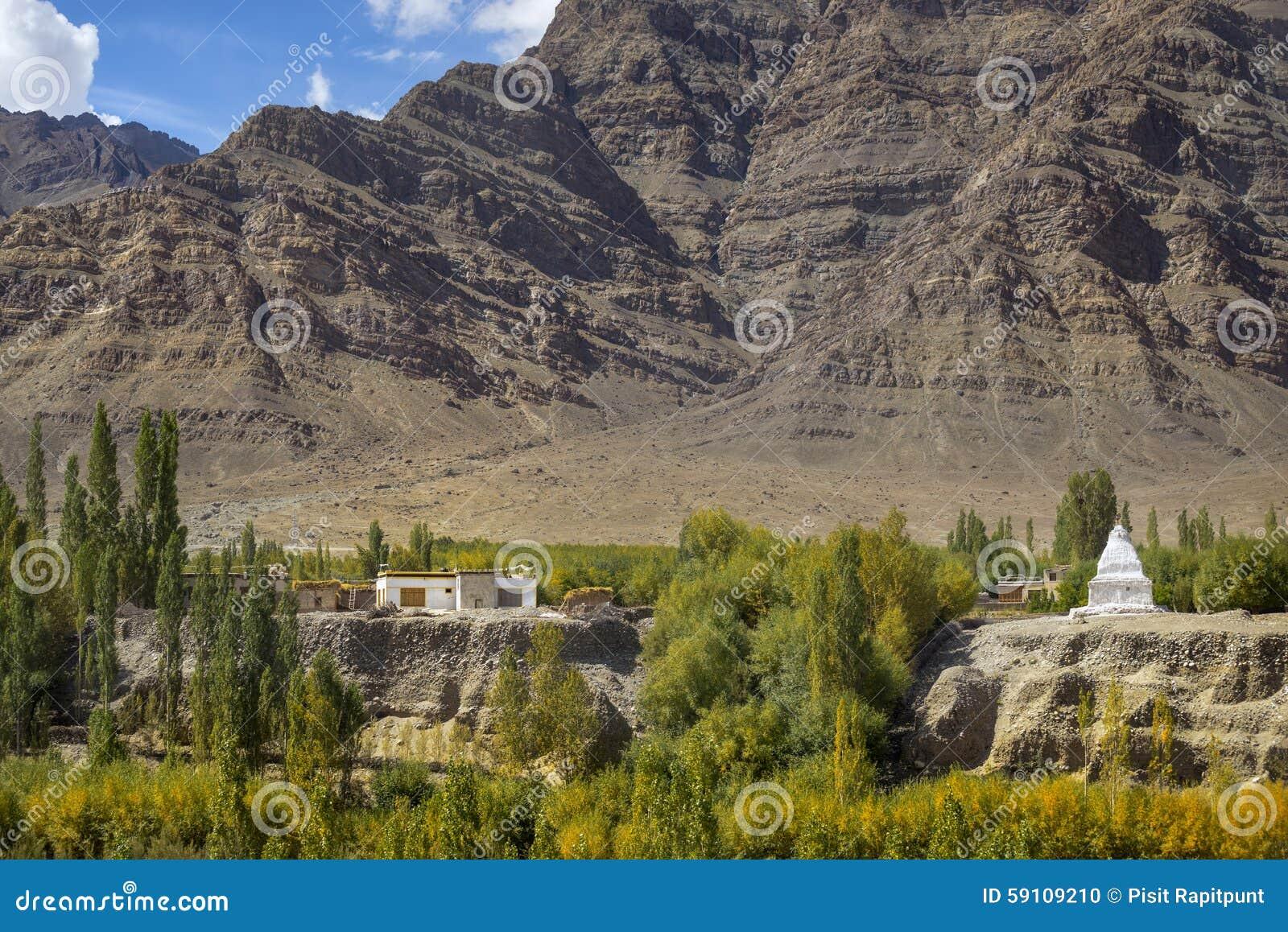 西藏房子和stupa和沙子山背景拉达克,印度风景看法