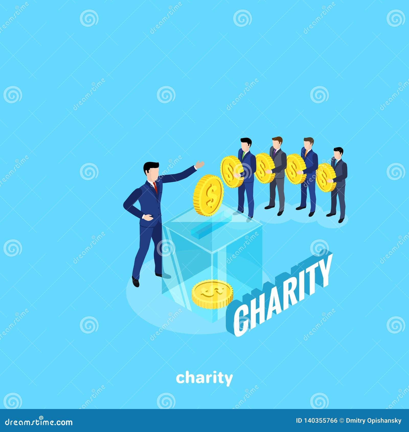 西装的人站在队中做慈善捐献和一个玻璃箱子作为为收金钱的一个工具