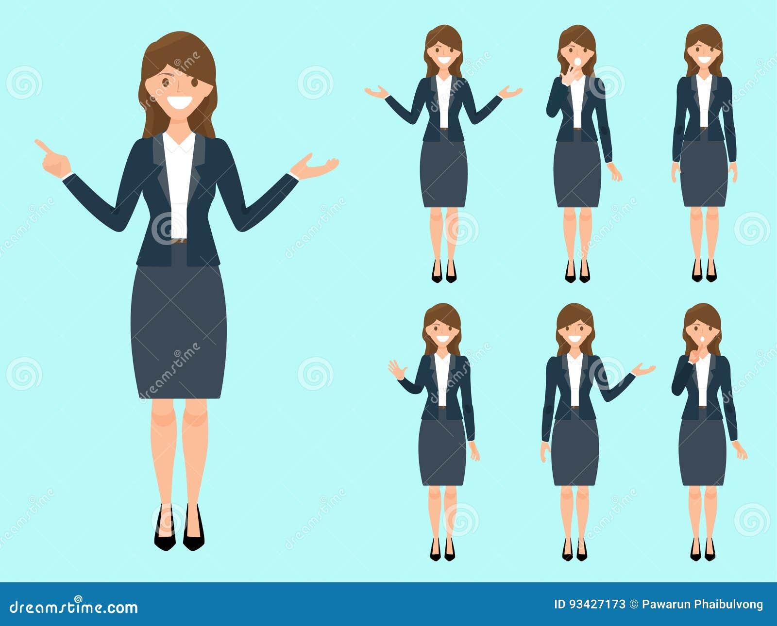 西装的妇女 美好的成人动画片妇女身分我