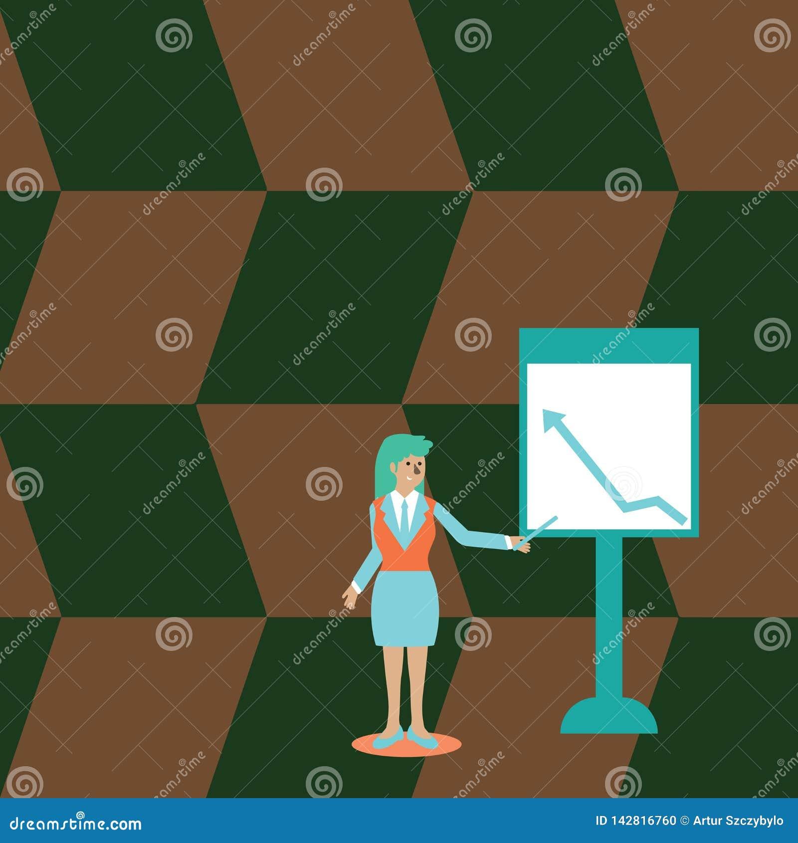 西装藏品棍子的确信的妇女和指向上升在独立Whiteboard的绘制箭头