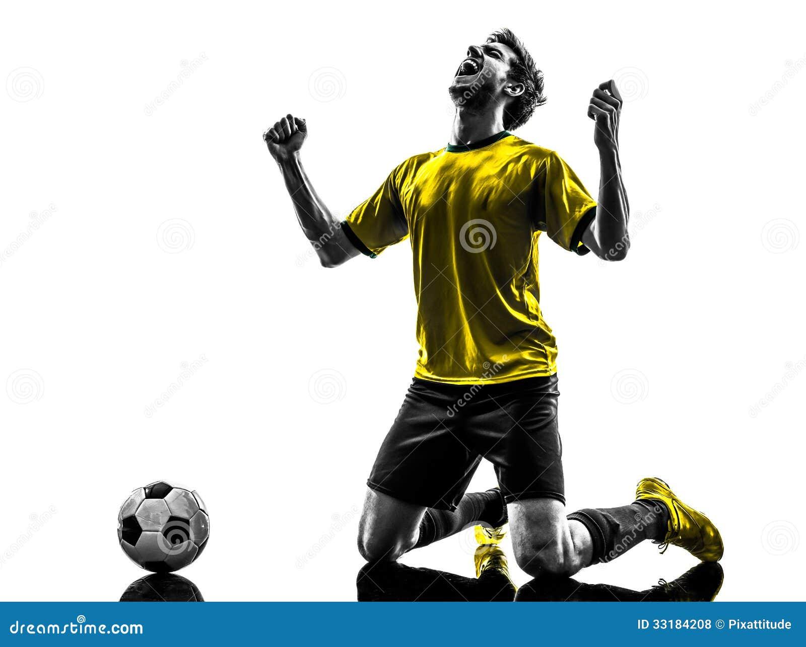 巴西足球足球运动员年轻幸福喜悦下跪ma