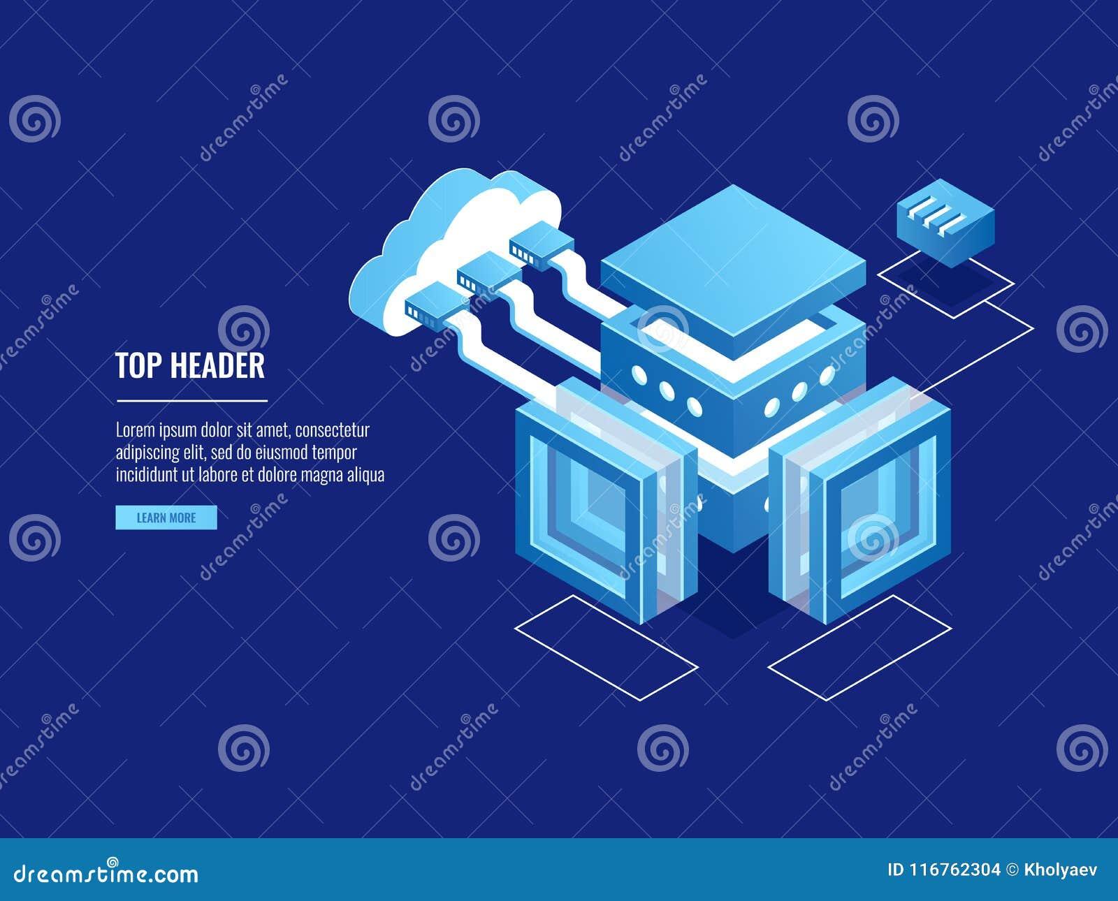 覆盖仓库,数据拷贝存贮,服务器室,与云彩,数据中心数据库象的连接