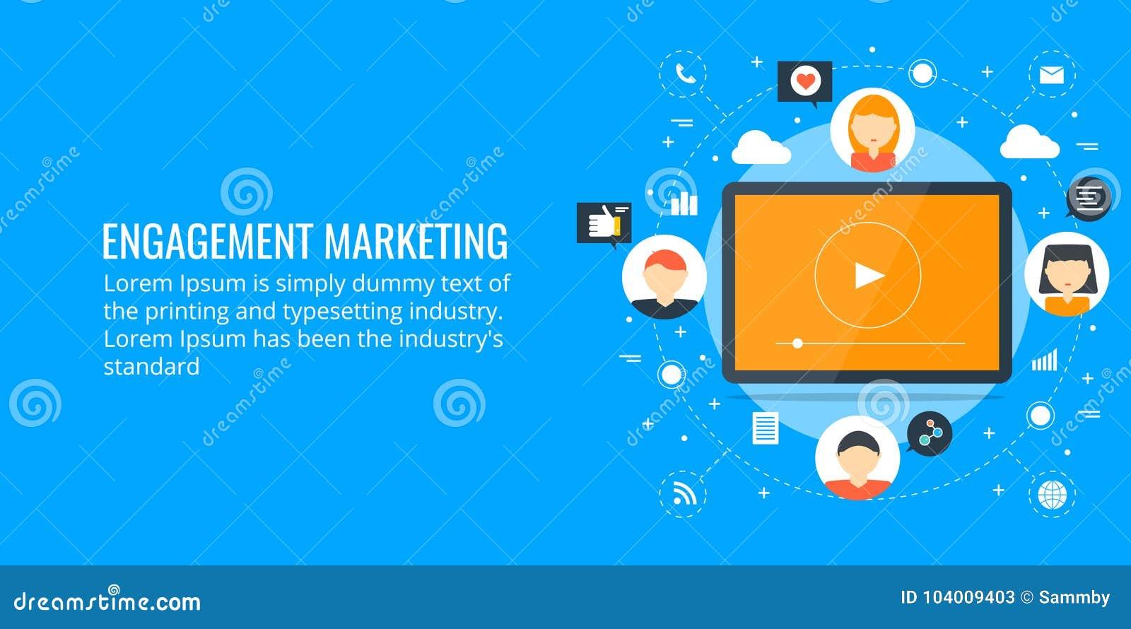 观众订婚-网络营销概念 平的设计营销横幅