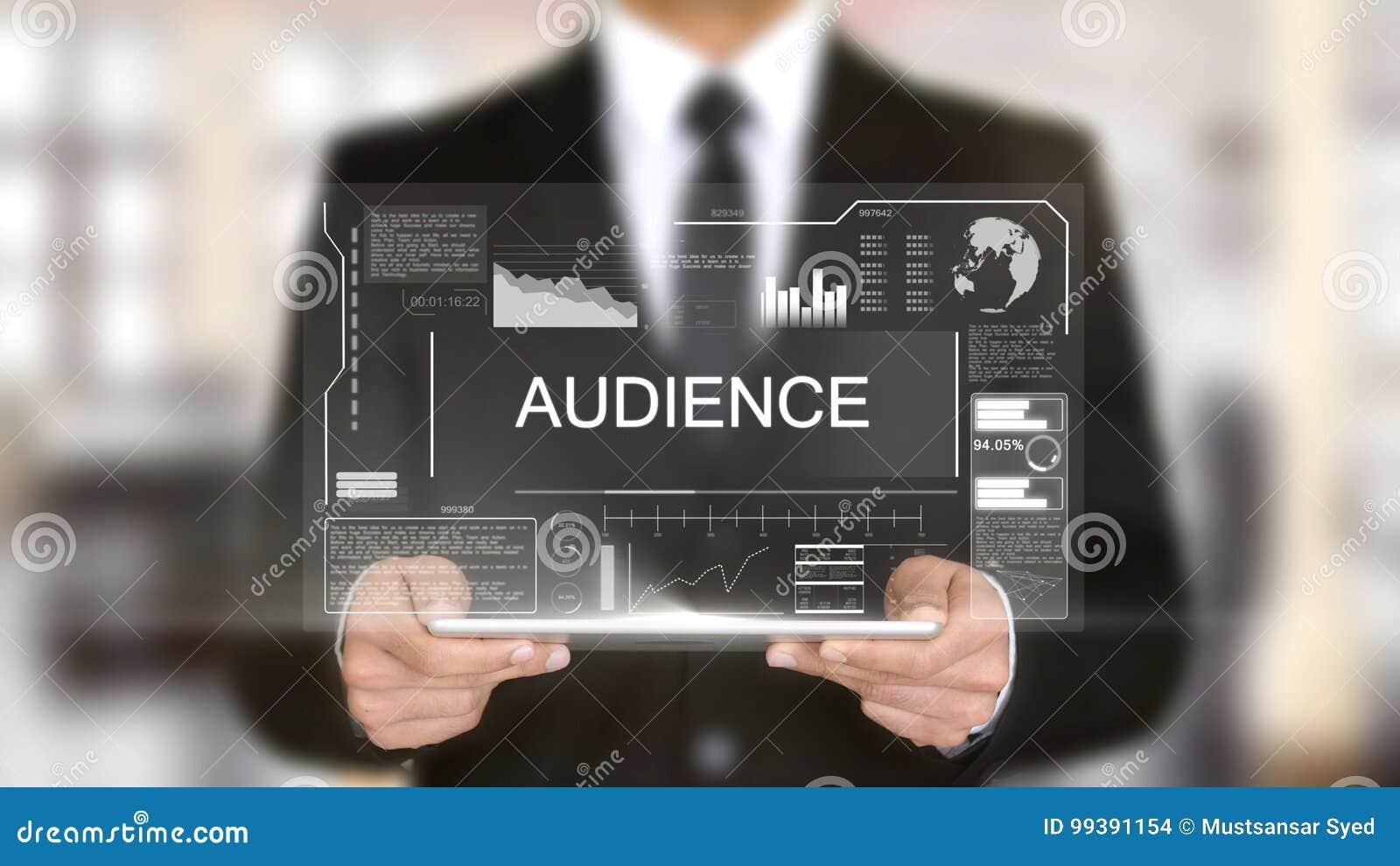 观众,全息图未来派接口概念,被增添的虚拟现实