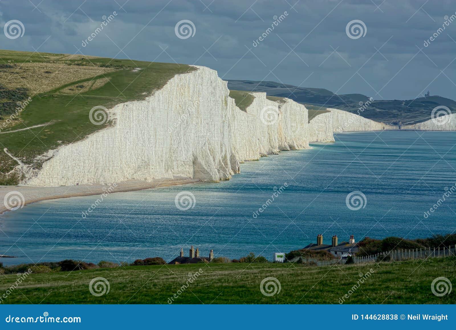 观点的七个姐妹用粉笔写峭壁,苏克塞斯英国