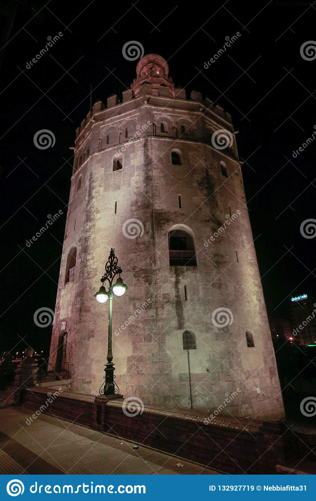 观点的金黄Tower托尔del塞维利亚,安大路西亚,在河瓜达尔基维尔河的西班牙Oro