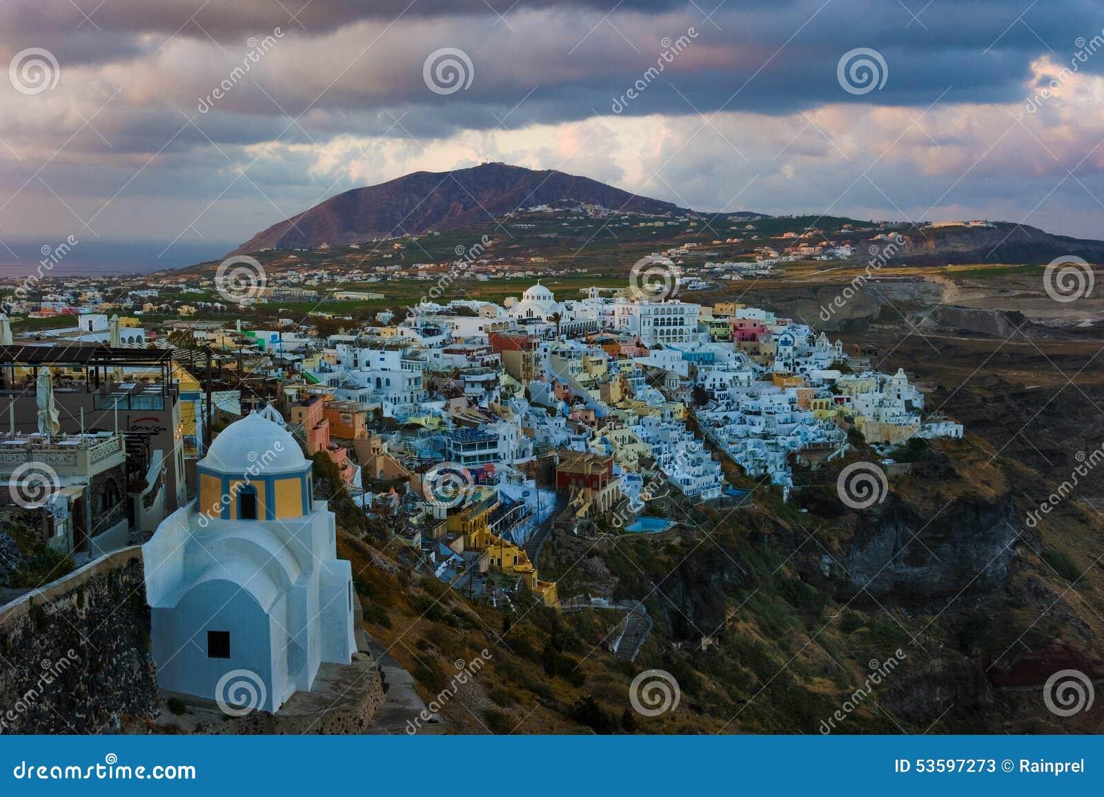 观点的Fira或锡拉在圣托里尼,希腊