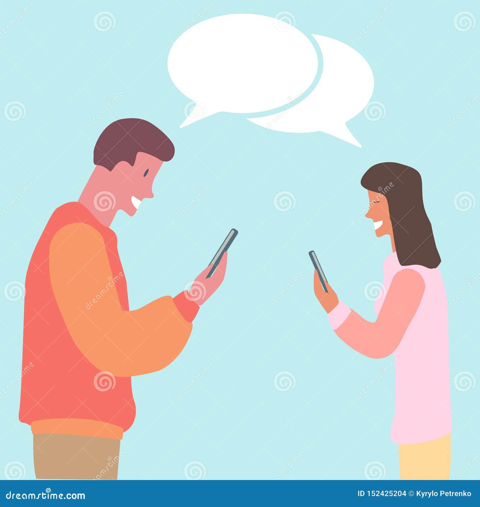 观看他们的电话平的设计的年轻夫妇