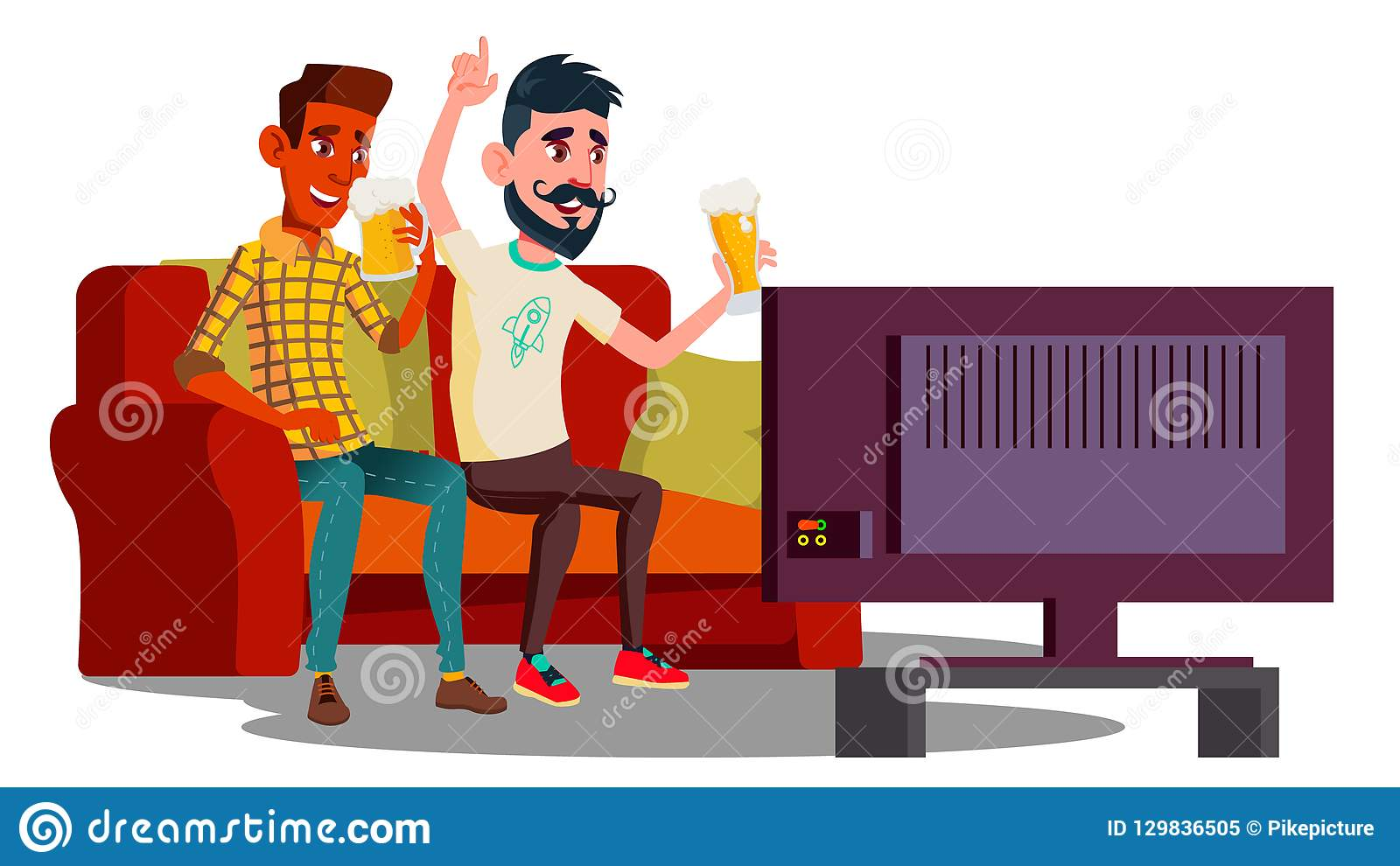 观看在长沙发的橄榄球和喝啤酒传染媒介的两个朋友 按钮查出的现有量例证推进s启动妇女