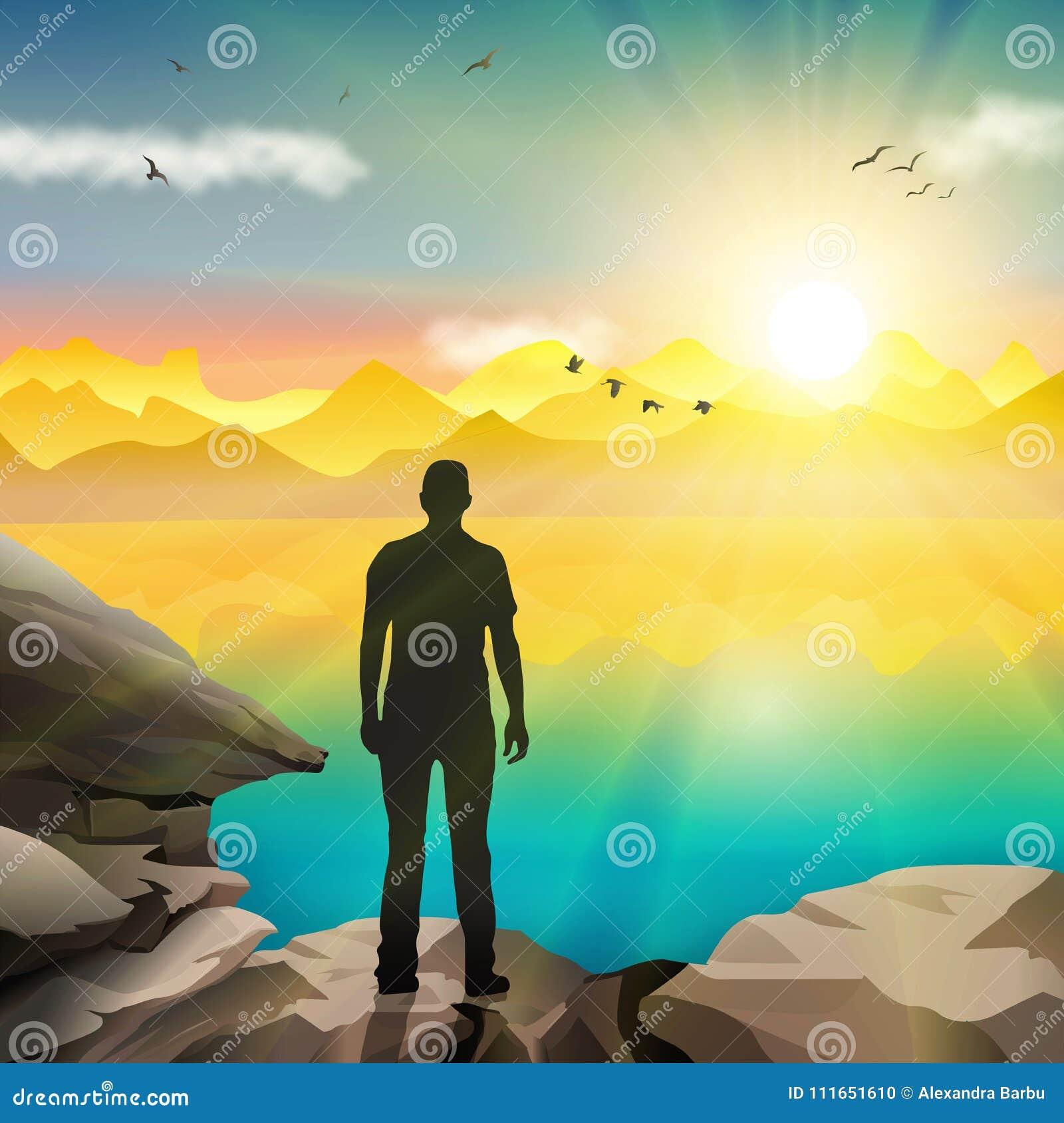 色观看_download 观看日出的人剪影 向量例证.