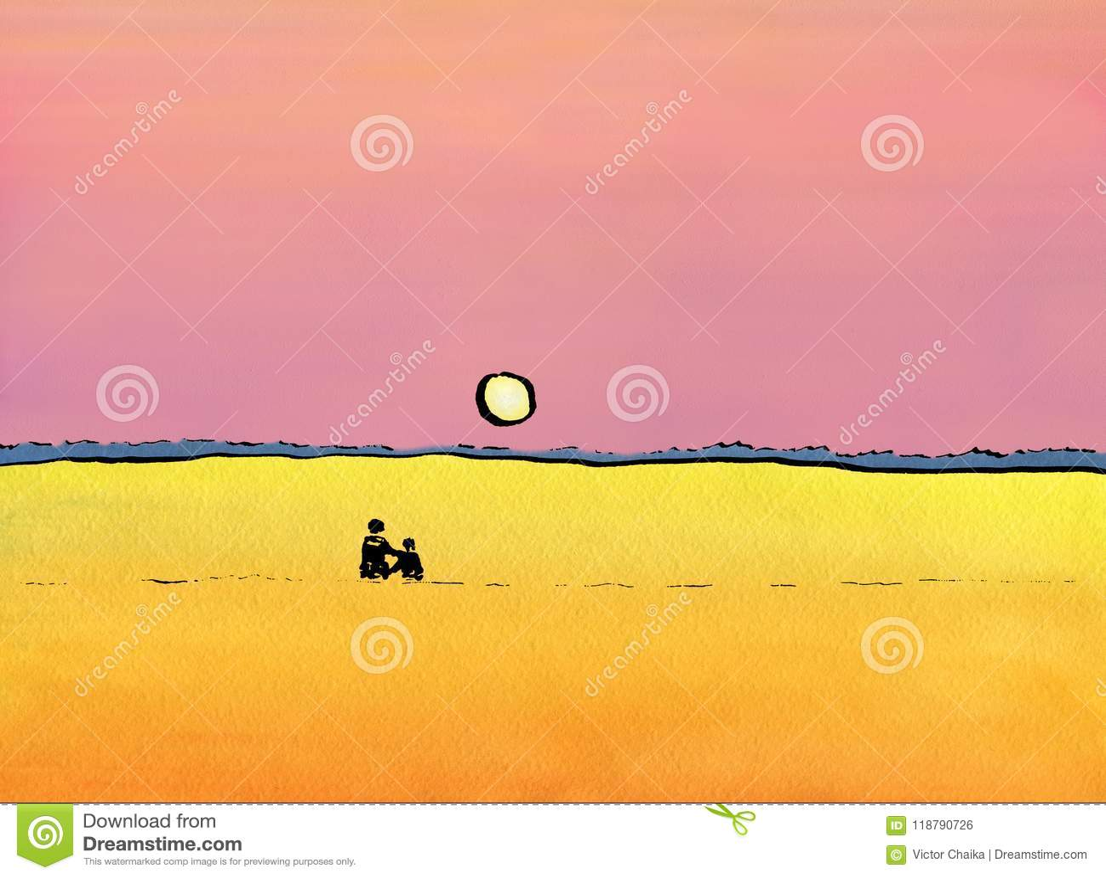 观看日落的一对爱恋的夫妇
