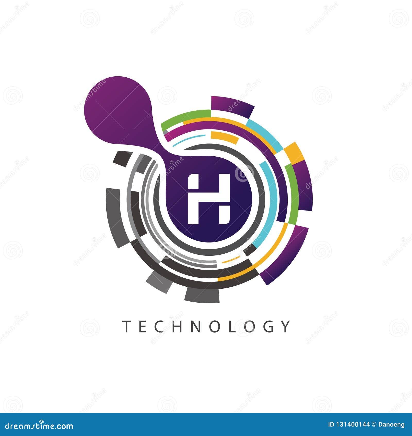 视觉映象点techno H信件商标