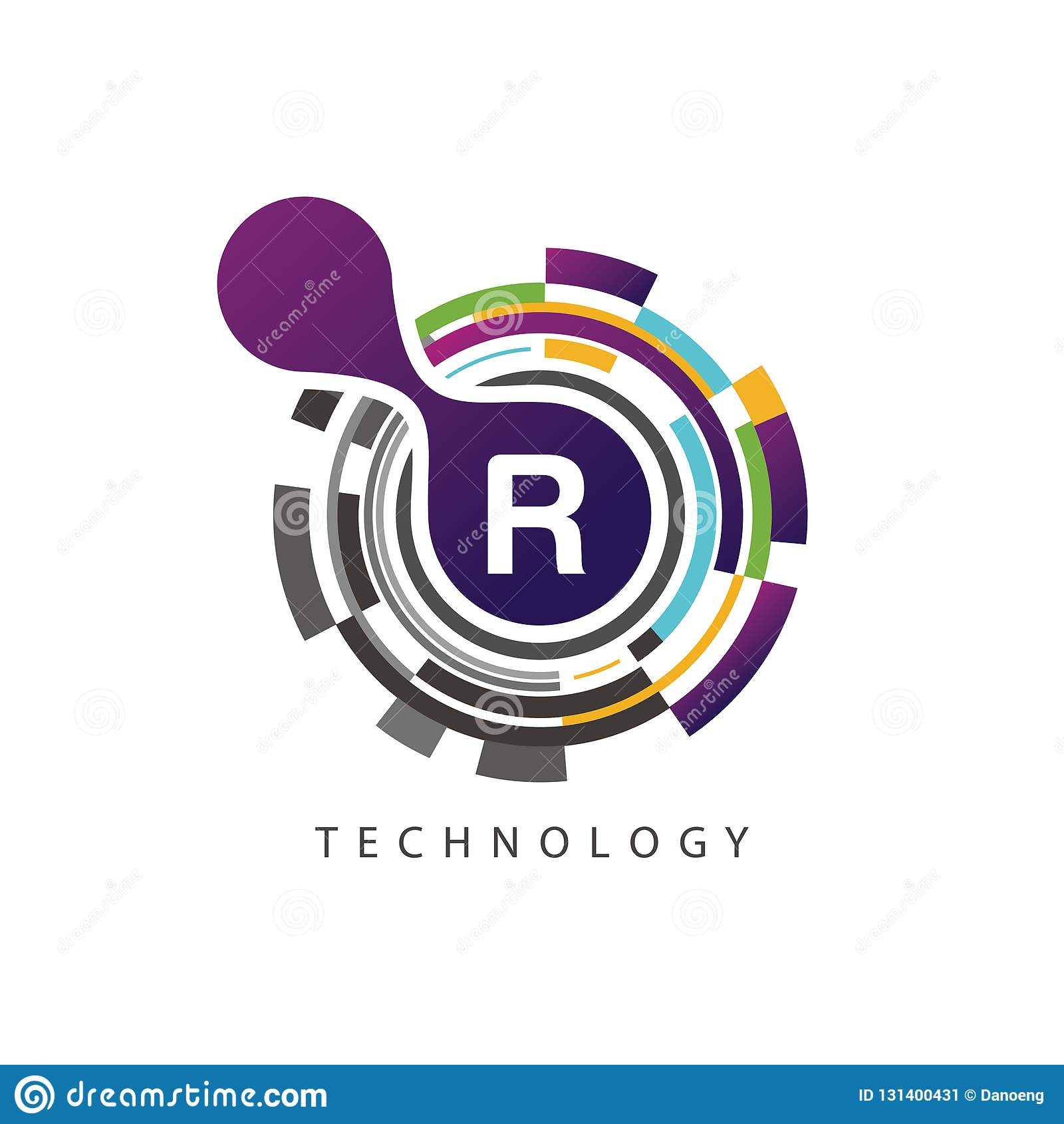 视觉映象点techno R信件商标