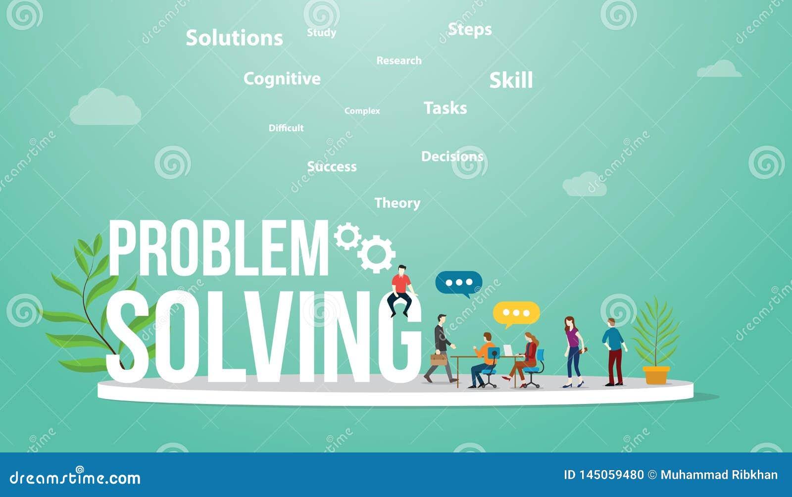 解决问题与大词文本和队人会议的企业概念谈论和辩论解决问题-传染媒介