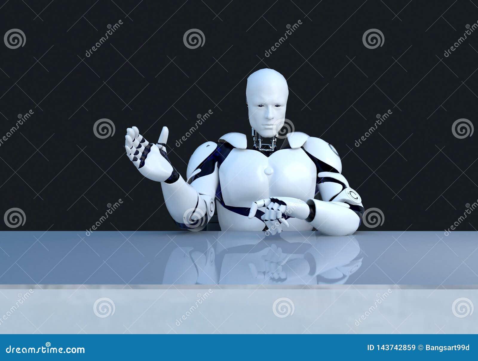 解释某事的白色机器人技术 技术在将来,在黑背景