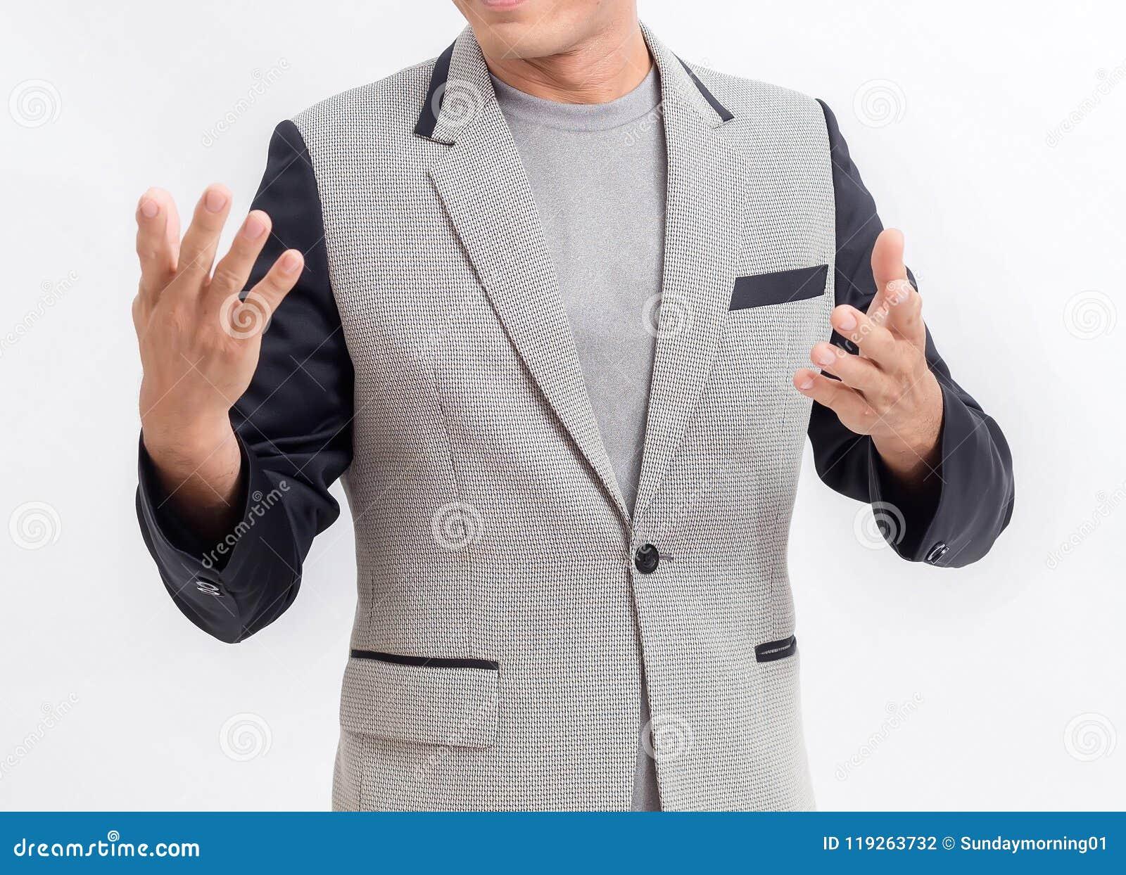 解释白色背景和用手被描述的商人