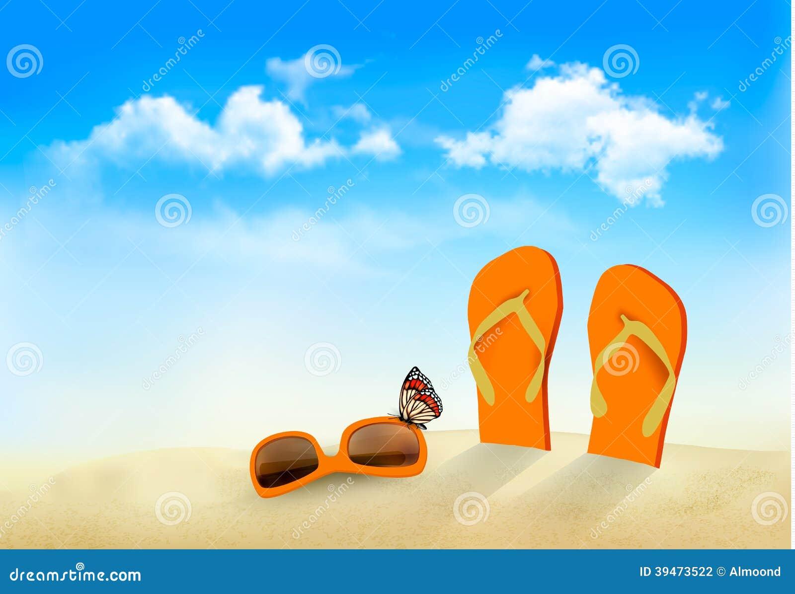 触发器,太阳镜和一只蝴蝶在海滩.夏天记忆背景.传染媒介.图片