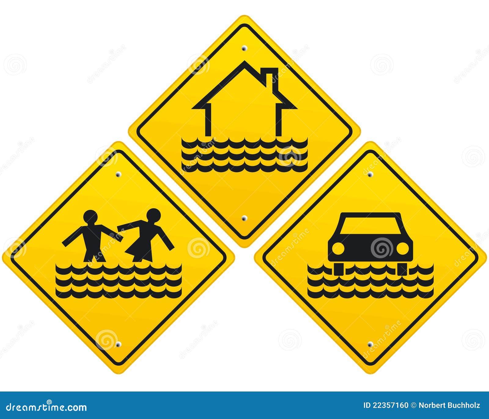 警告洪水的符号三