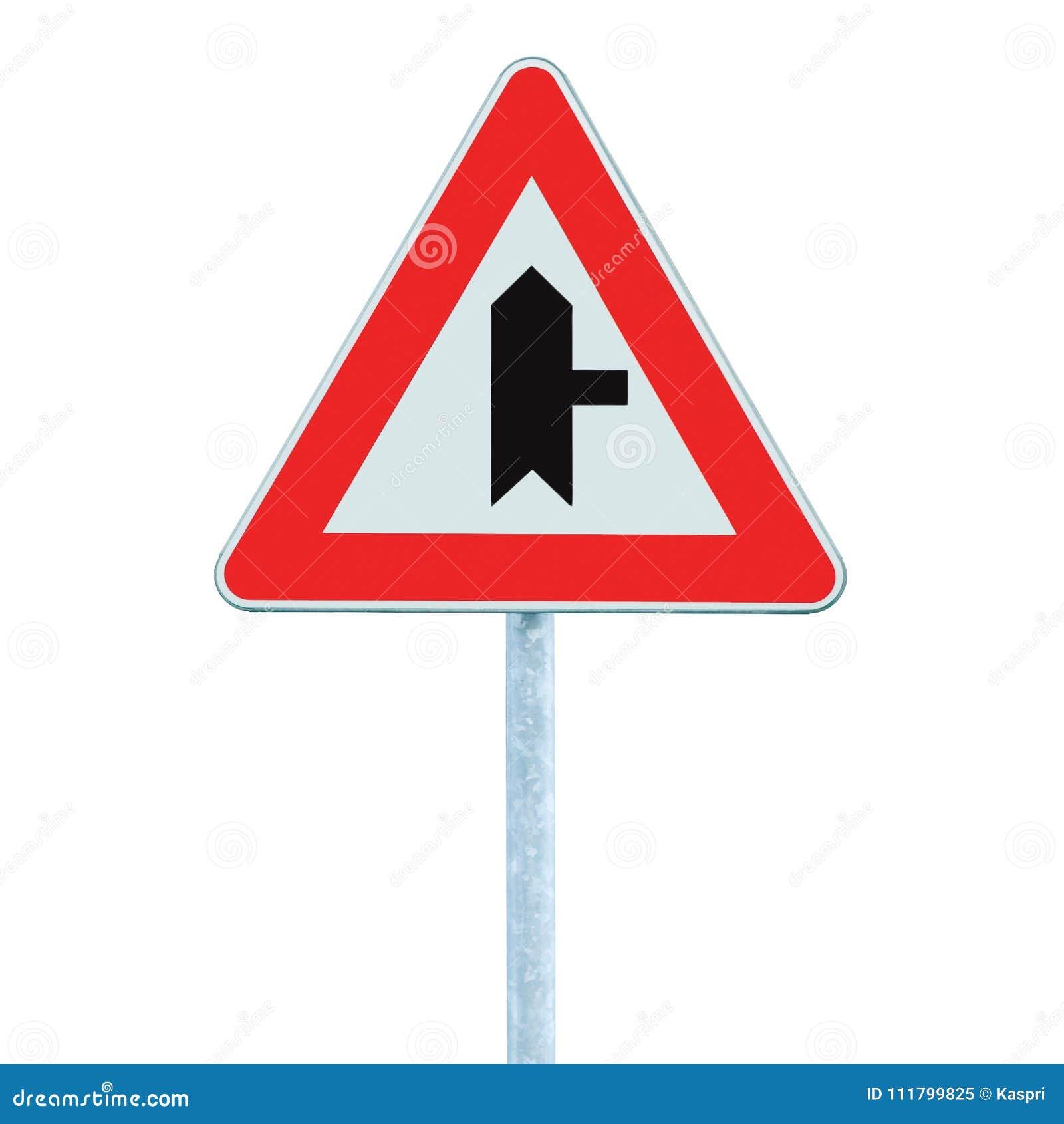 警告的交叉路主路标志,波兰人岗位,权利,被隔绝的特写镜头