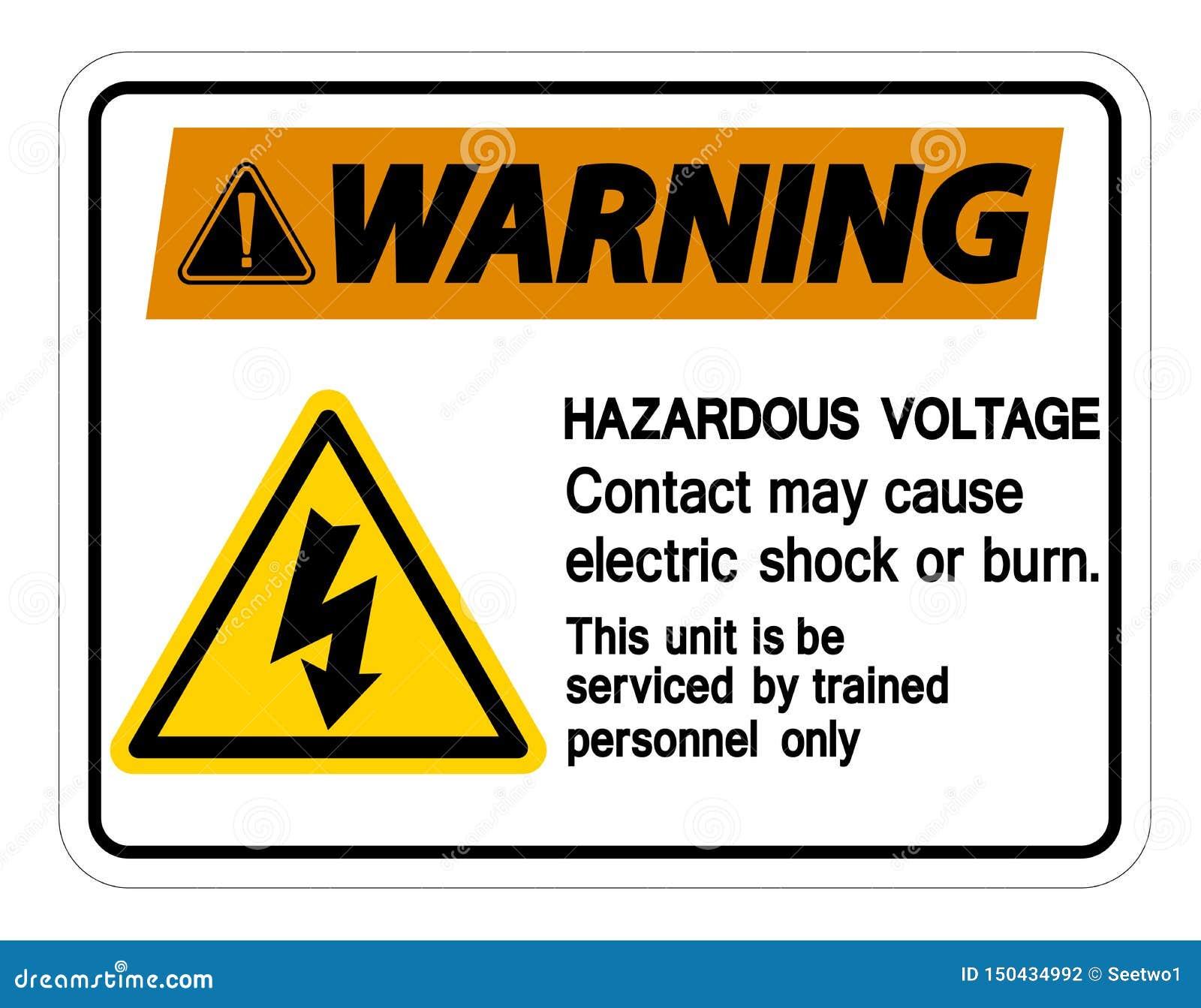 警告的危害电压联络也许导致电击或烧伤在白色背景,传染媒介例证的标志孤立