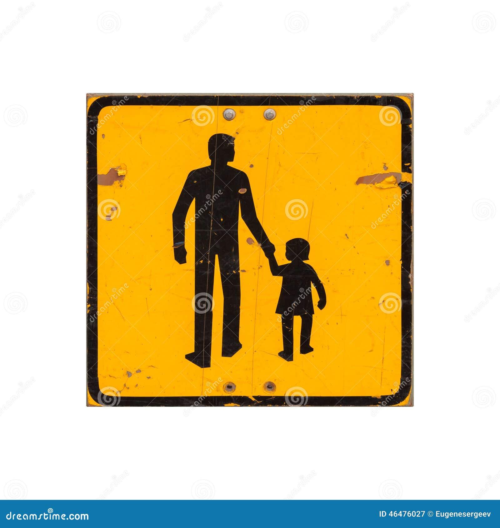 警告黄色的孩子在白色隔绝的路标