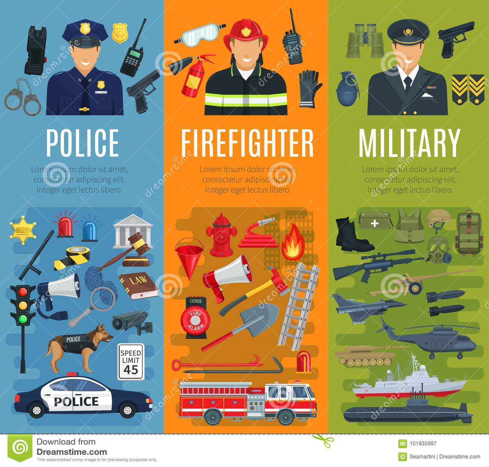 警察、消防队员和军事行业横幅