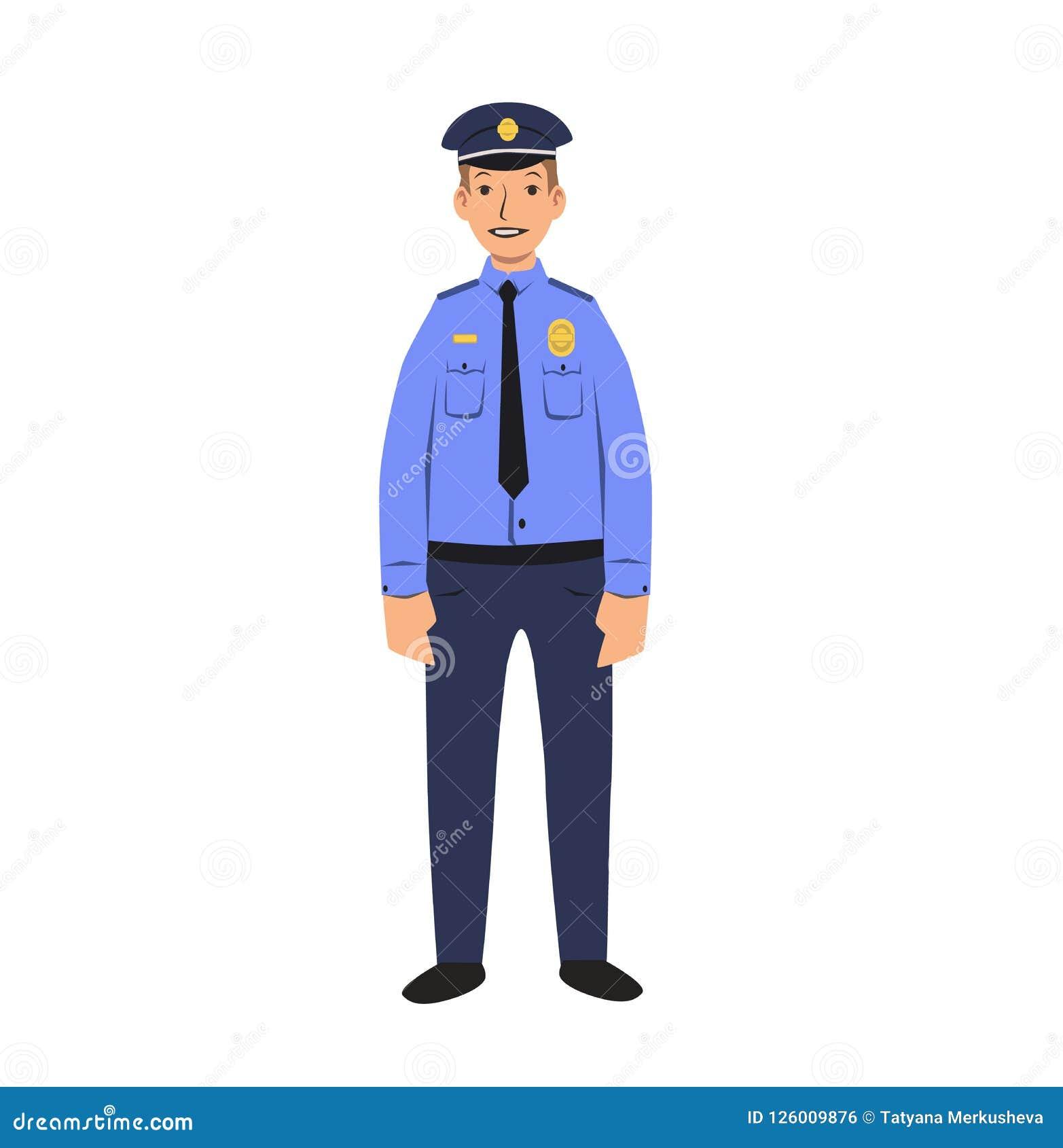 警察字符 平的传染媒介例证 背景查出的白色