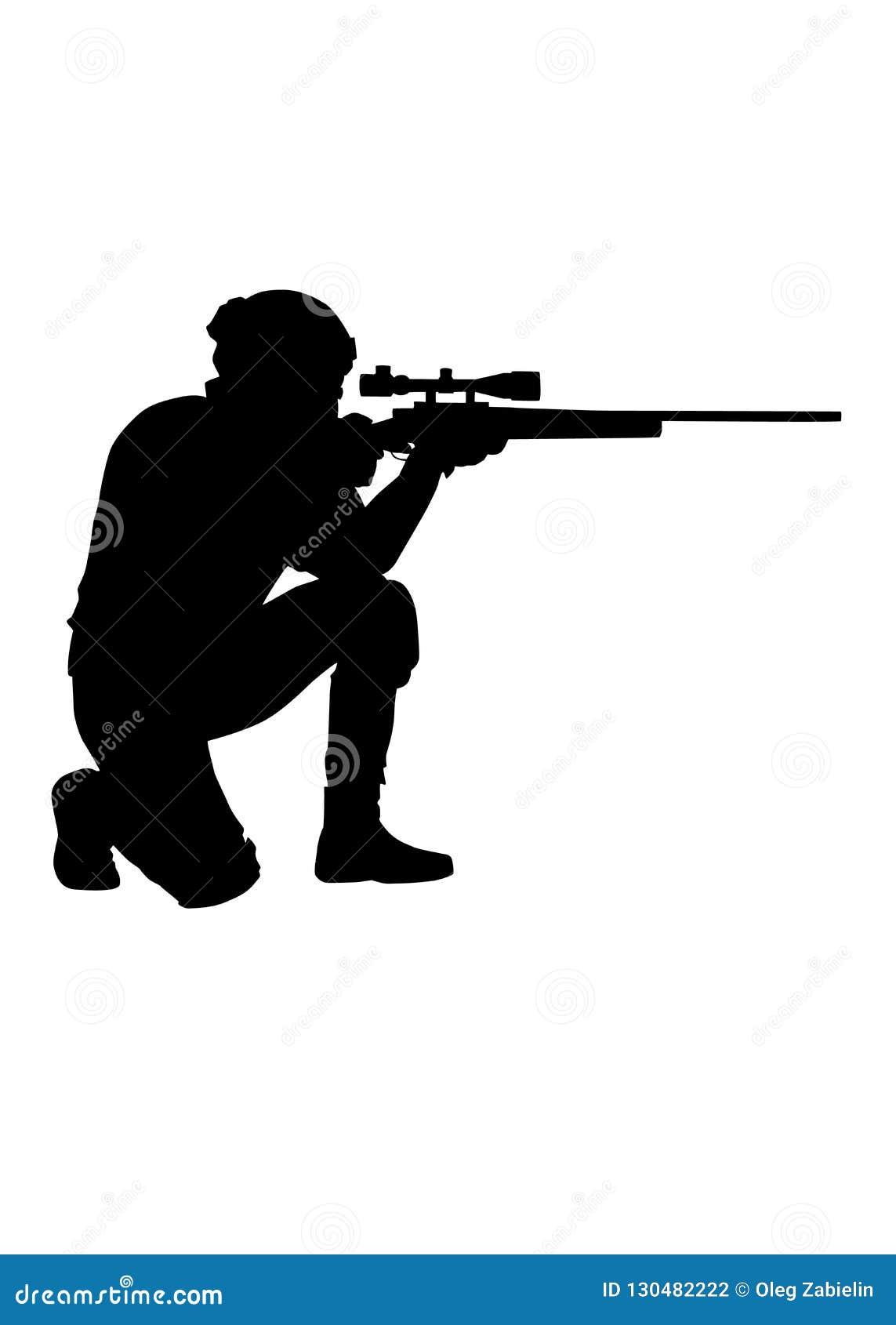 警察狙击手瞄准步枪传染媒介剪影