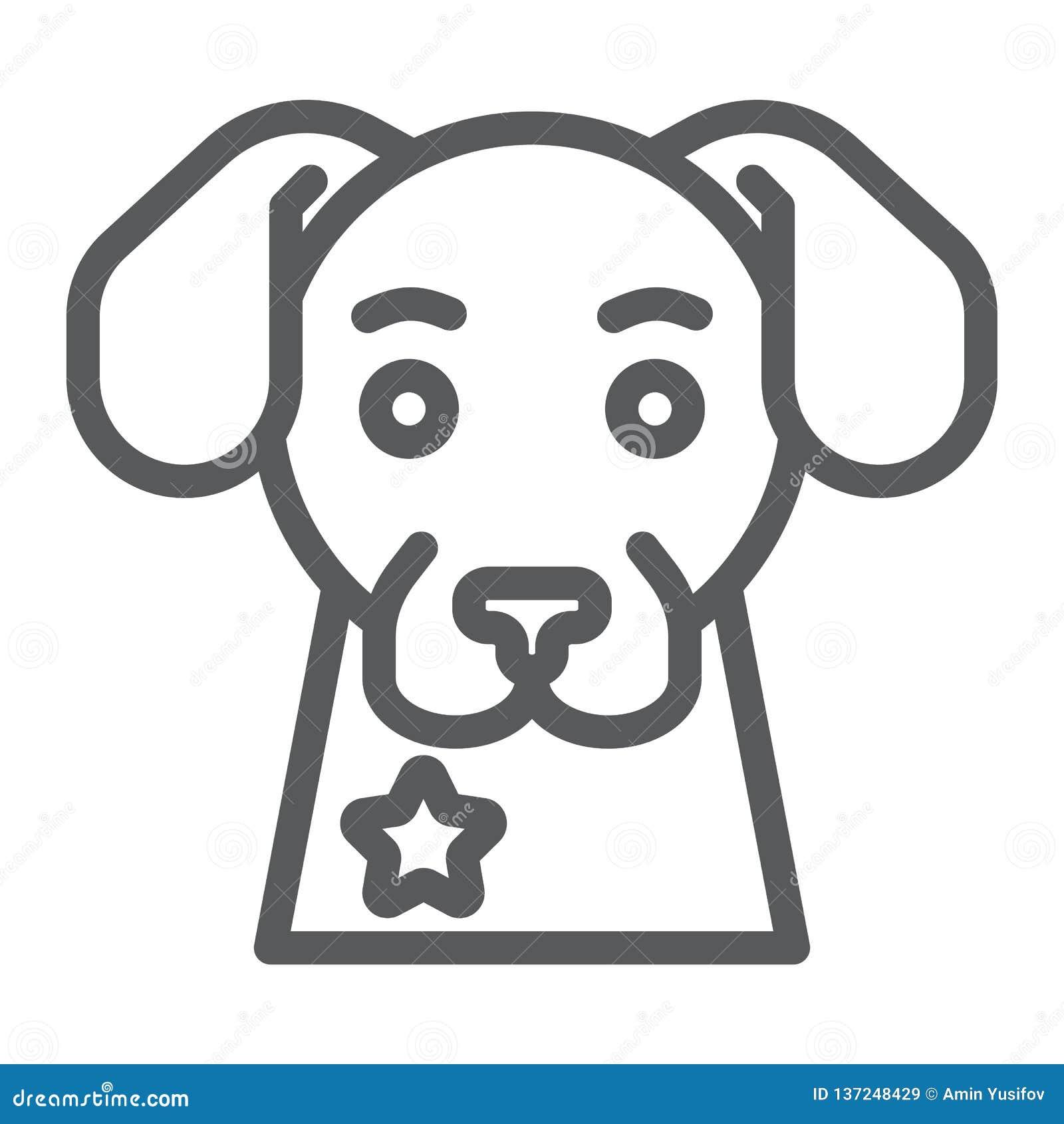 警犬线象,卫兵和宠物,动物标志,向量图形,在白色背景的一个线性样式