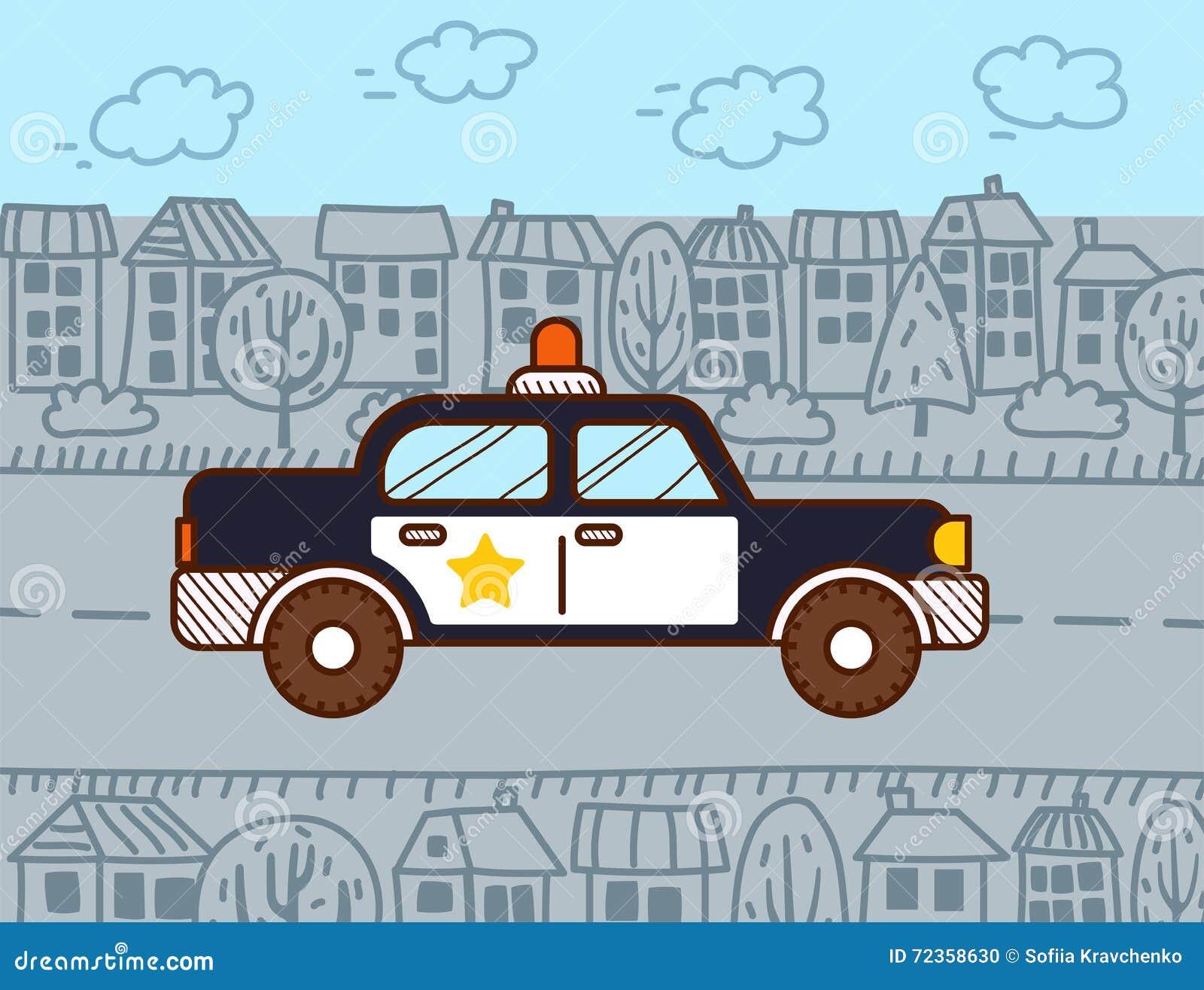 警车在城市