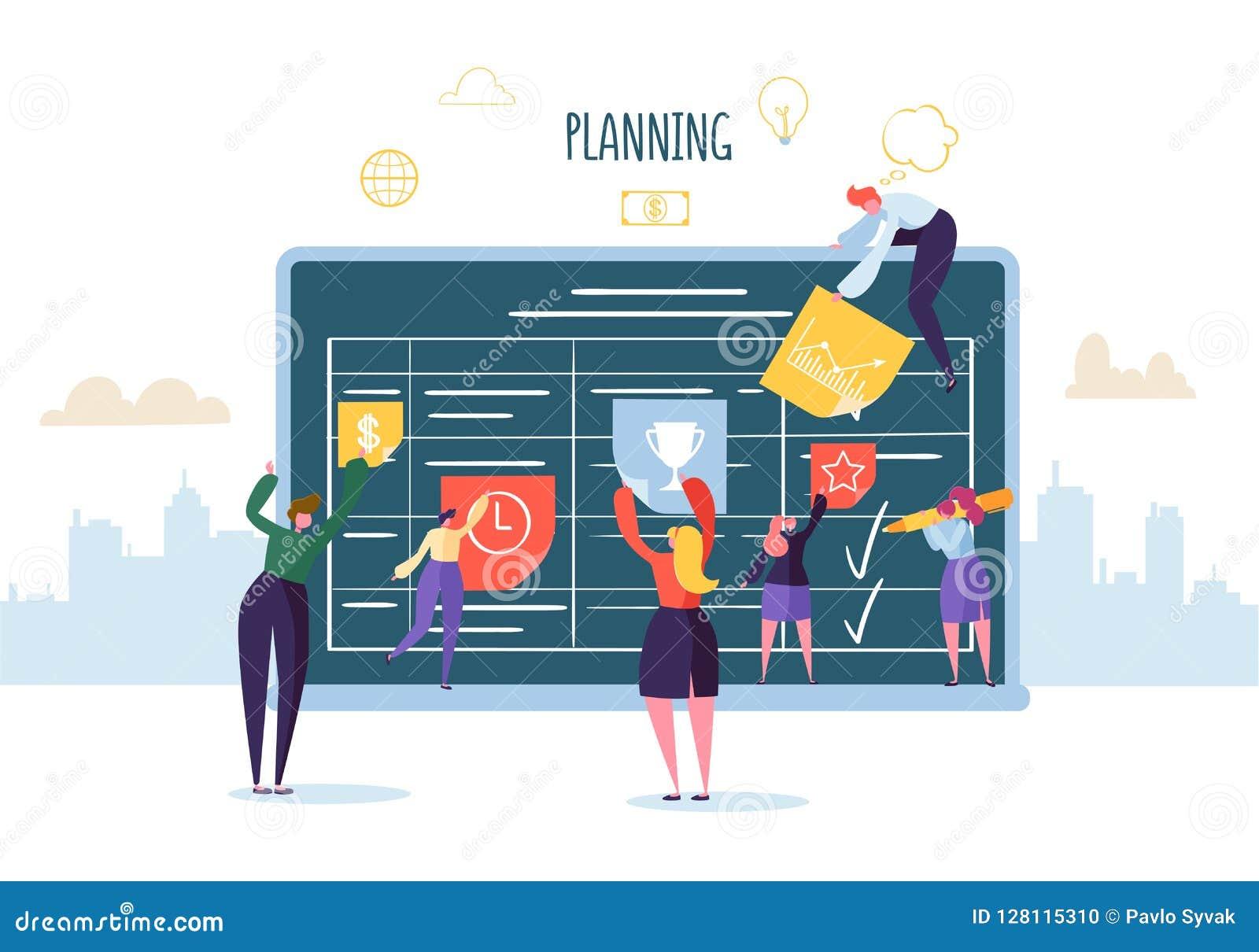 计划与运作与计划者的企业字符的日程表概念 队  平的人民Teamworking