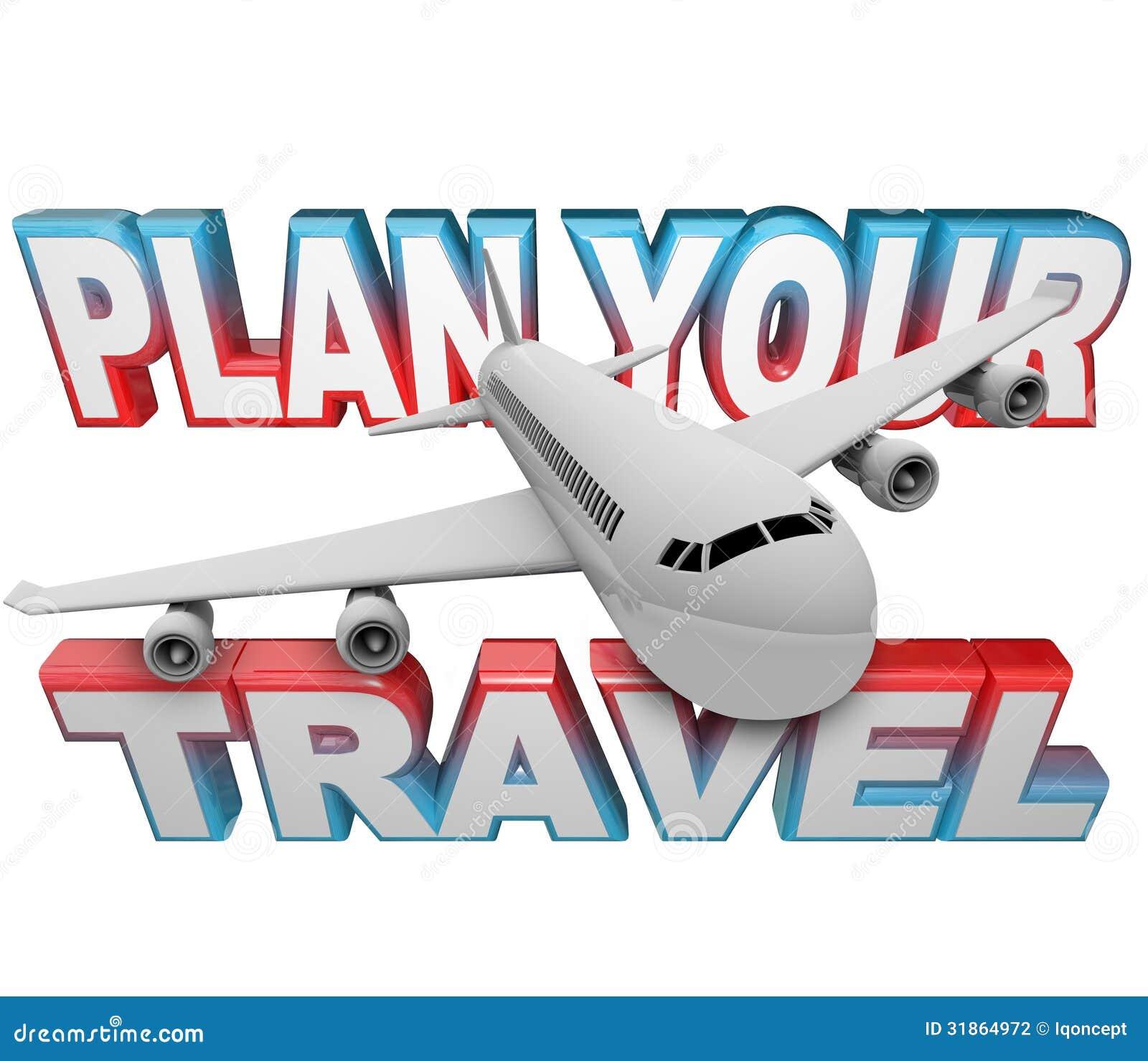 计划您的旅行日程词飞机背景
