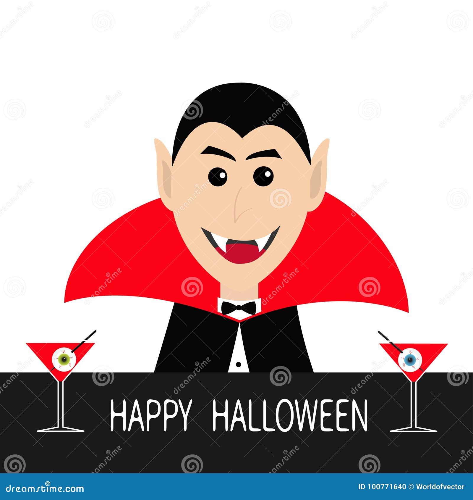 计数佩带黑和红色海角的德雷库拉顶头面孔 逗人喜爱的动画片微笑的吸血鬼字符犬齿 与b的酒吧逆马蒂尼鸡尾酒玻璃