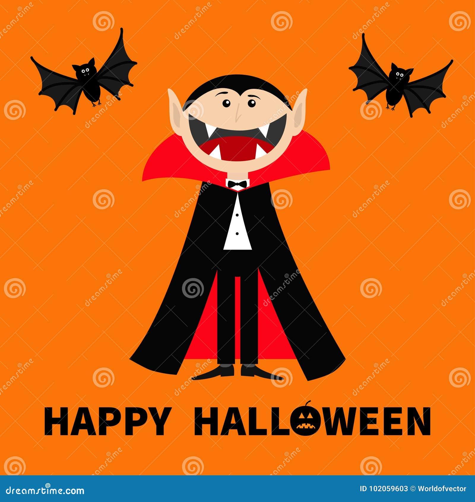 计数佩带黑和红色海角的德雷库拉 与大开放嘴、舌头和犬齿的逗人喜爱的动画片吸血鬼字符 两飞行的棒美洲黑杜鹃