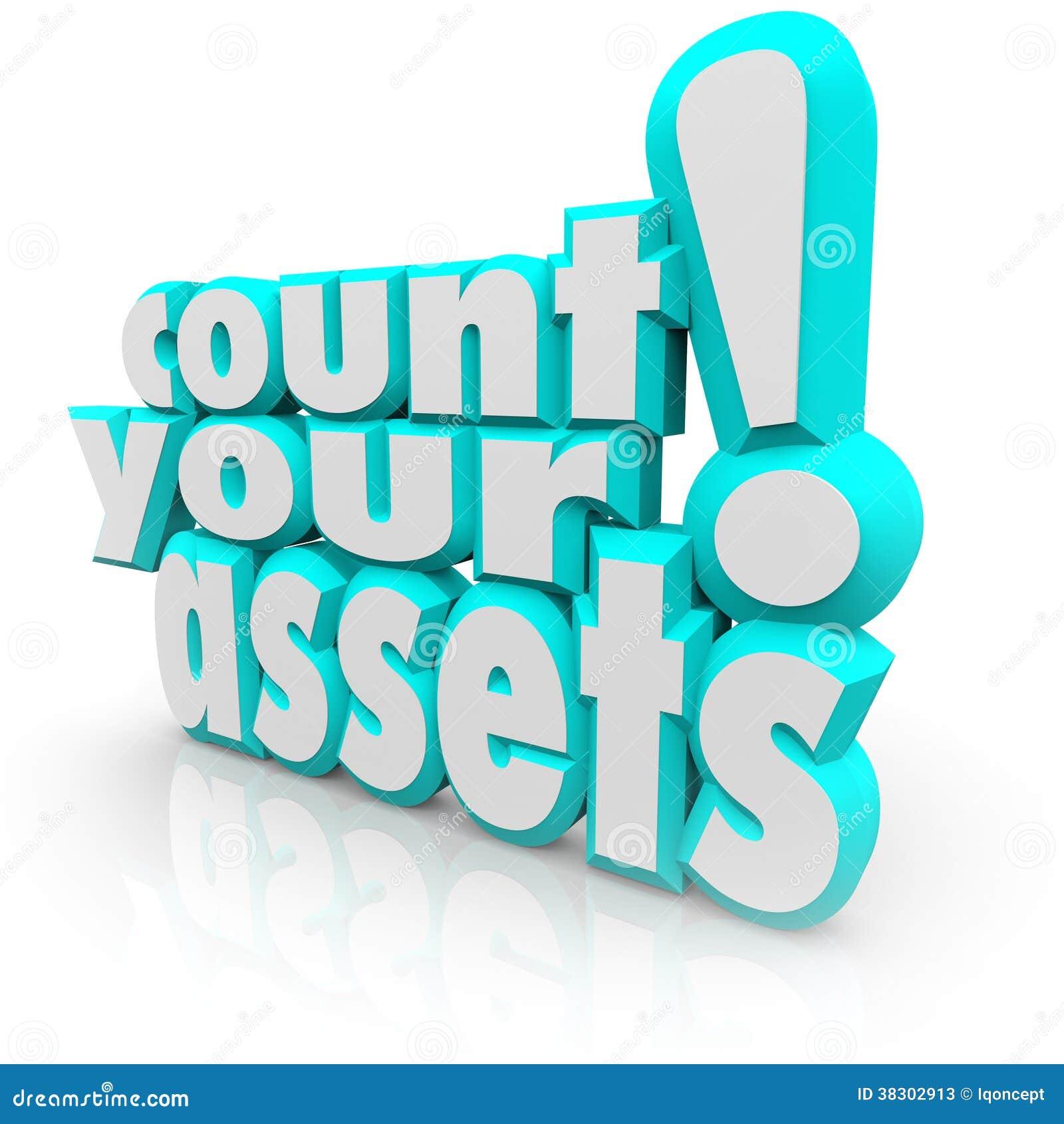 计数您的跟踪财富价值金钱的财产3d词