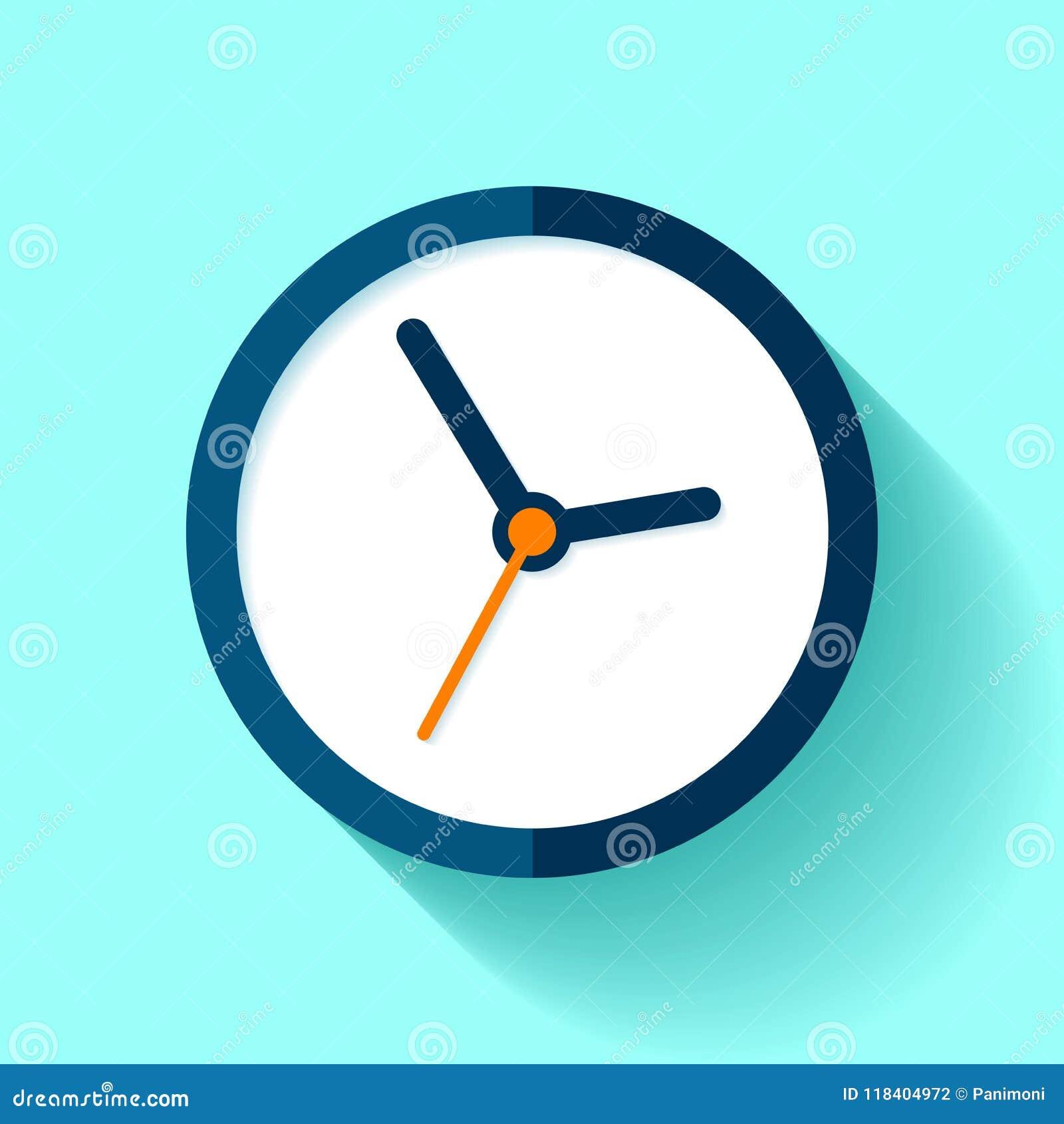计时在平的样式的象,在蓝色背景的圆的定时器 简单的企业手表 传染媒介您的设计元素项目